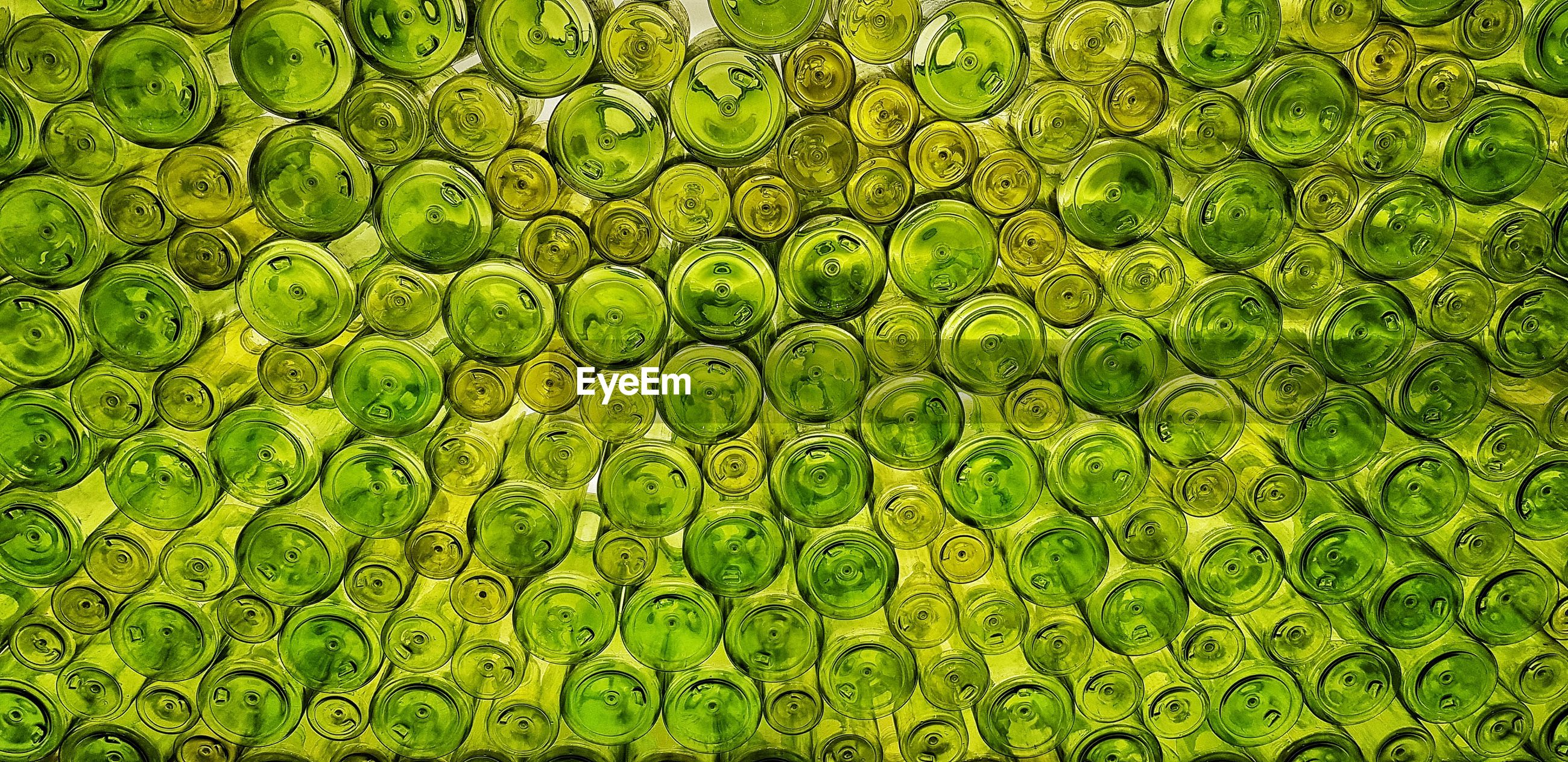 A study in green. a wall made of recycled green bottles.