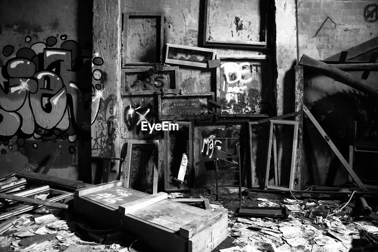 damaged, abandoned, architecture, no people, indoors, building, old, deterioration, decline, run-down, obsolete, messy, built structure, metal, bad condition, destruction, day, weathered, large group of objects, broken, ruined, dirty