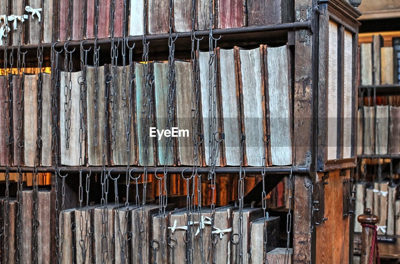 Old books in shelf at library