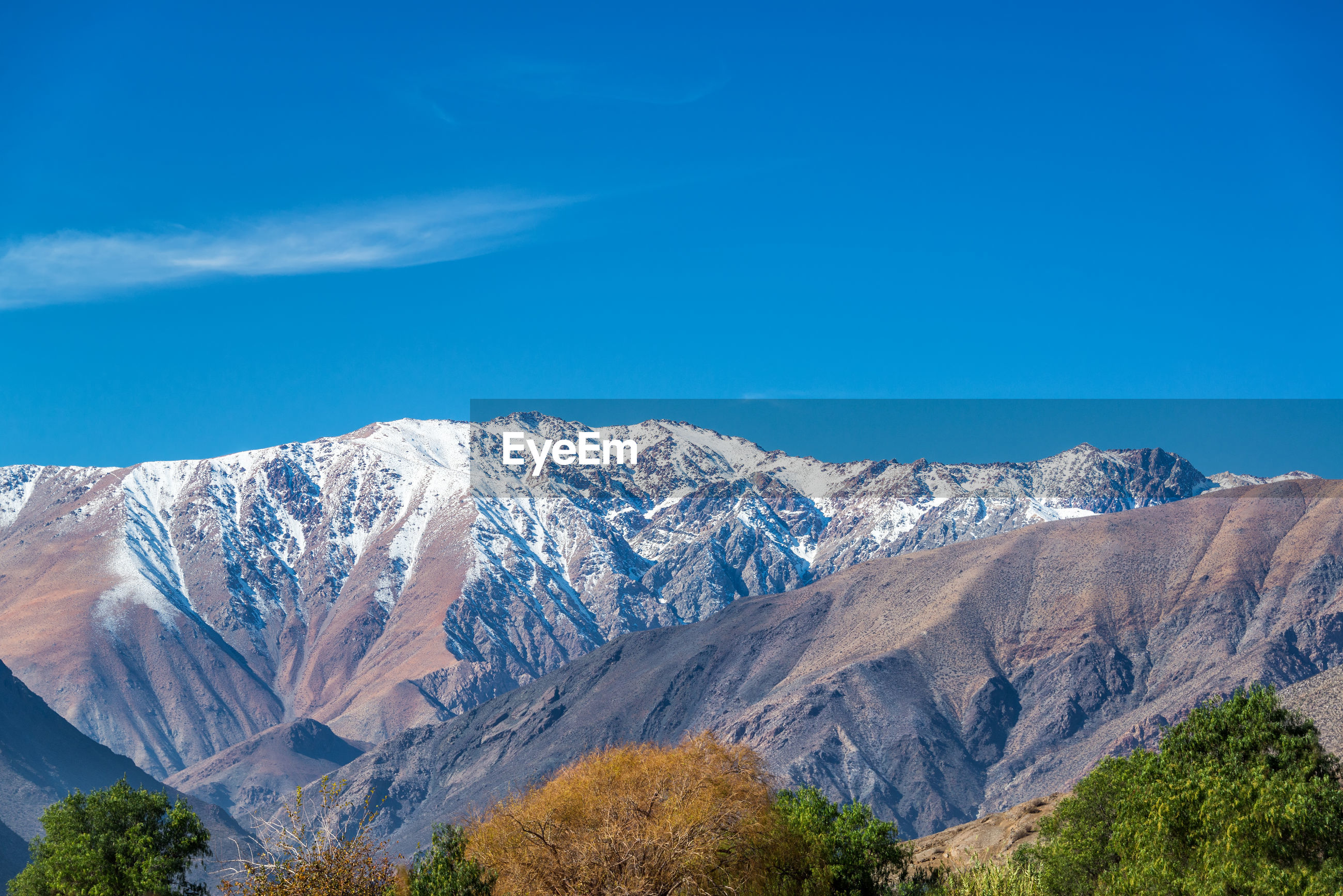 Scenic view of mountains at elqui valley against sky