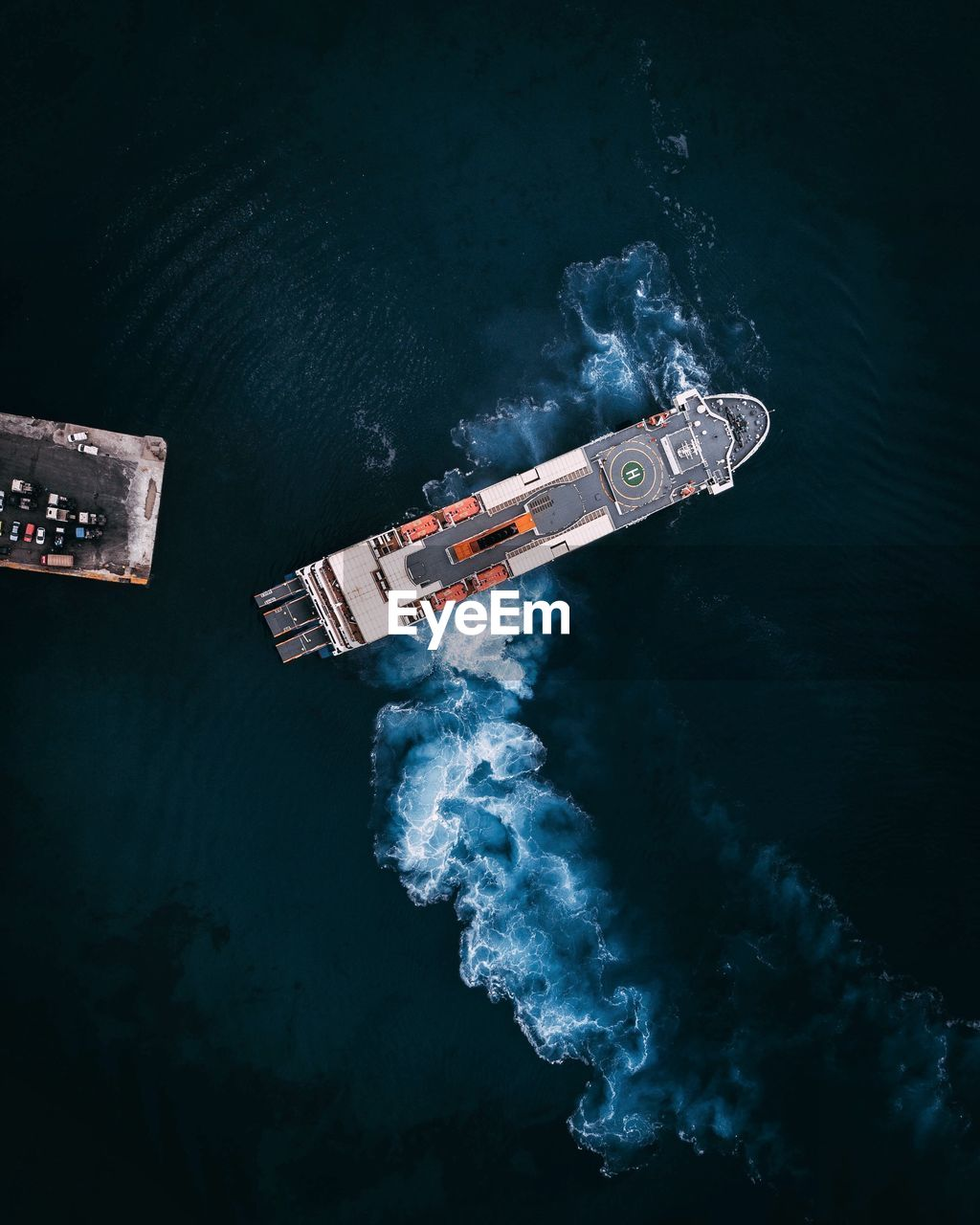 Directly Above Shot Of Ship In Sea