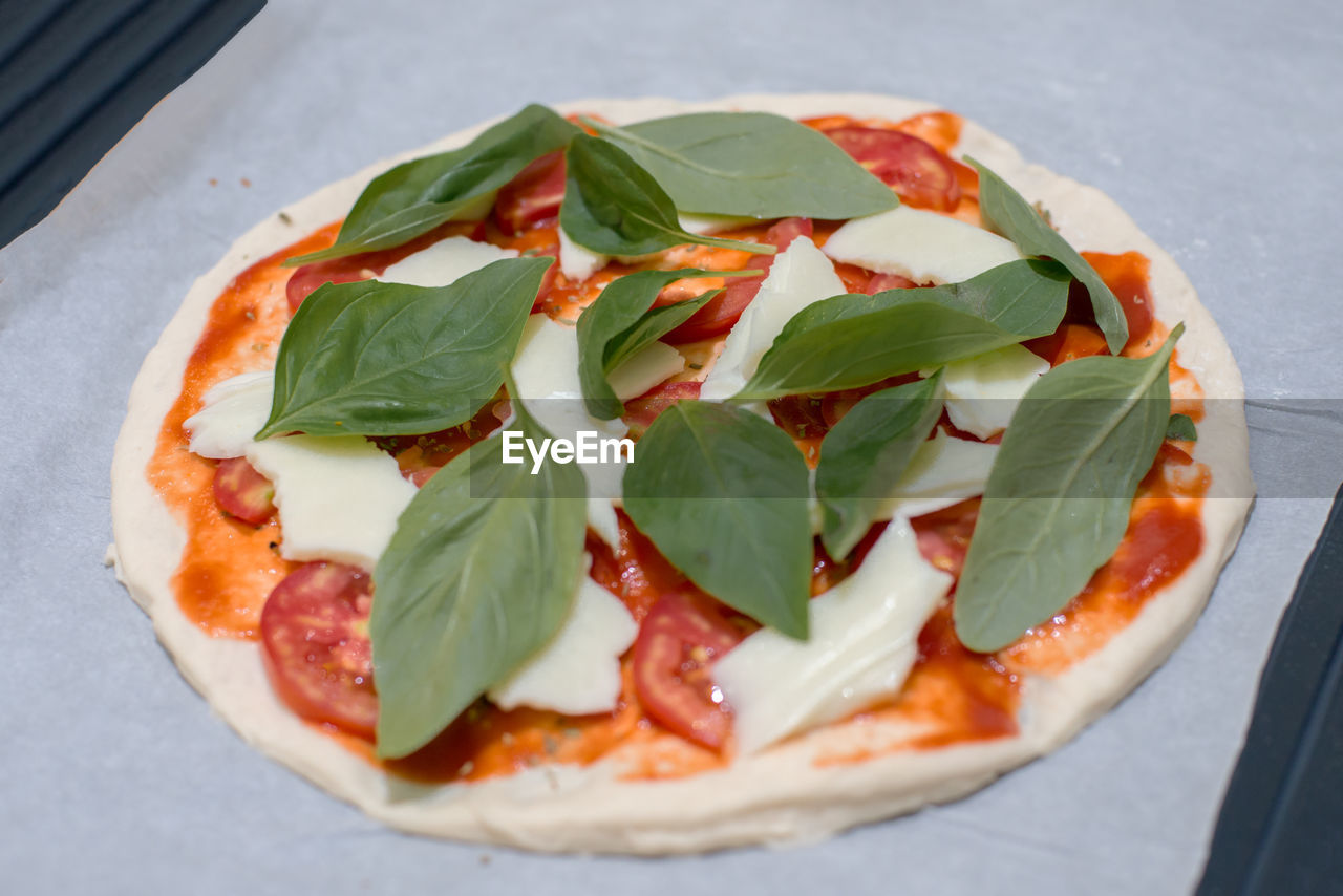 food, food and drink, freshness, leaf, ready-to-eat, pizza, plant part, basil, herb, close-up, no people, still life, serving size, fruit, italian food, indoors, indulgence, healthy eating, nature, dairy product, garnish, temptation, mint leaf - culinary, snack, arugula