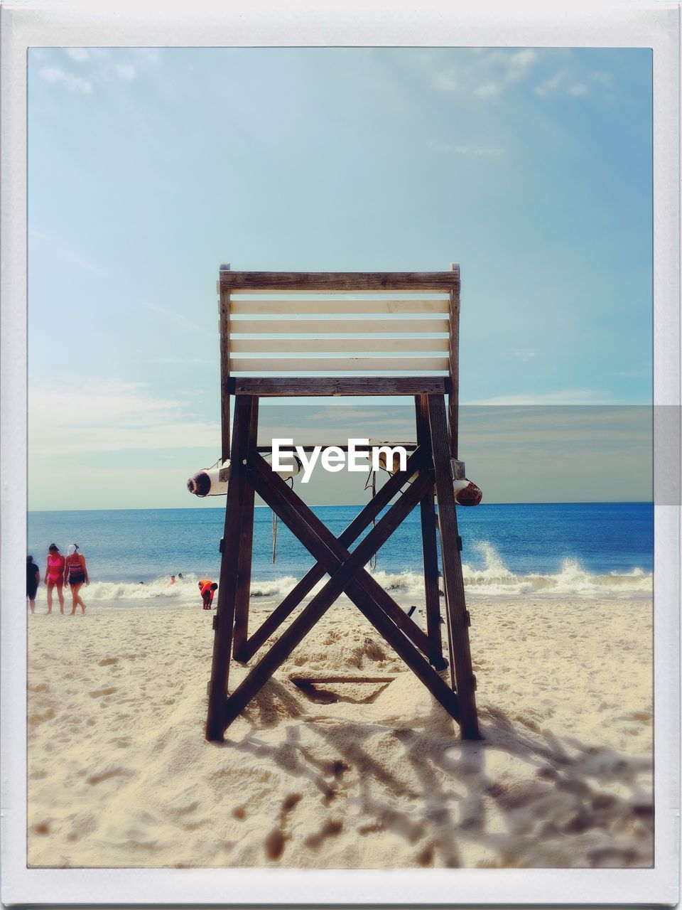 beach, sand, sea, horizon over water, sky, water, tranquil scene, scenics, rear view, nature, day, lifeguard hut, vacations, beauty in nature, lifeguard, outdoors, no people