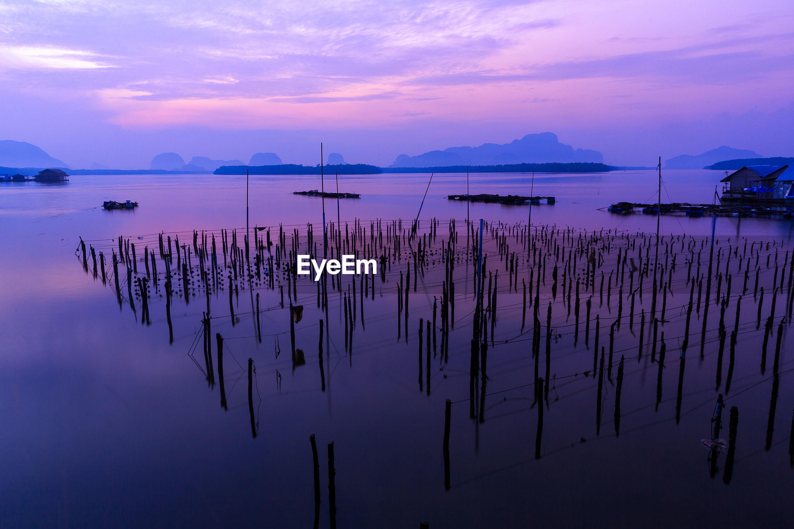 Rustic shrimp farm at sunset in thailand