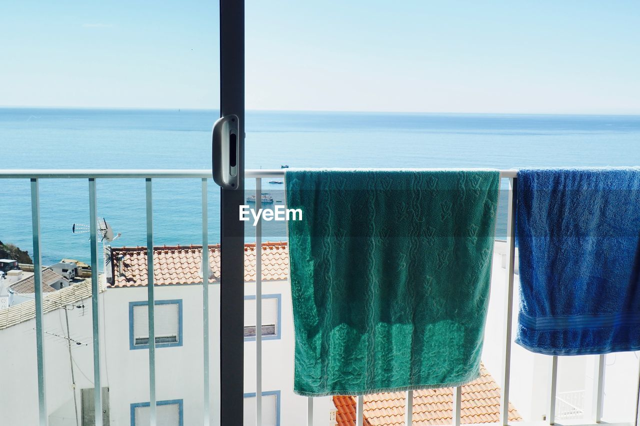 View From Balcony Of Sea Against Clear Sky
