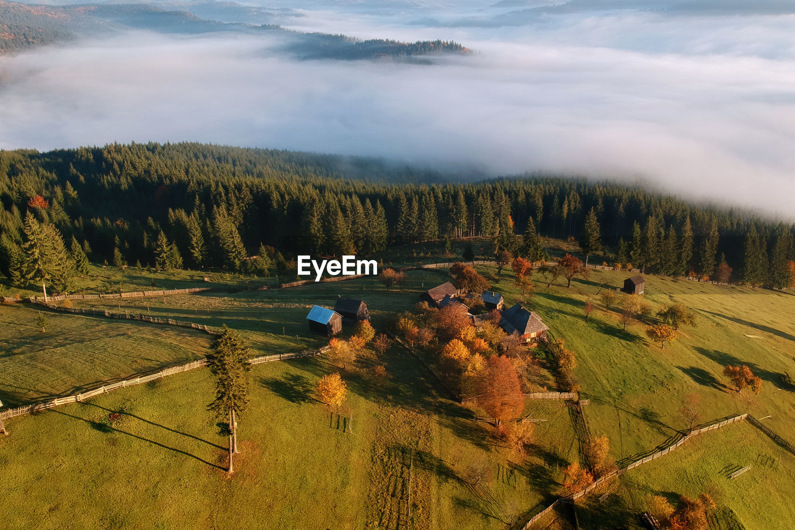 Aerial view of houses on landscape against sky