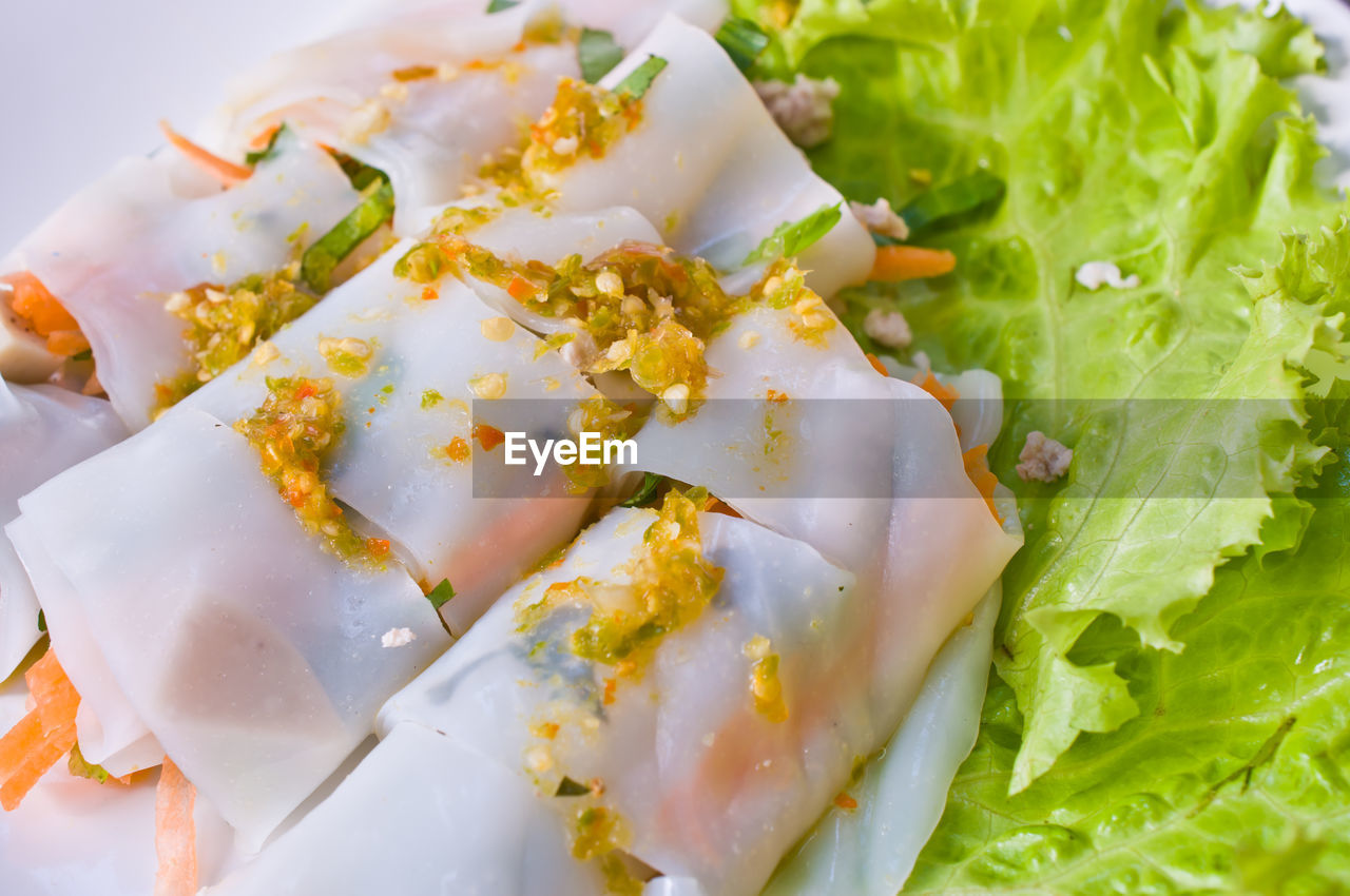 High Angle View Of Spring Rolls