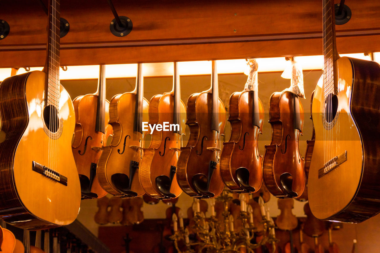 Close-Up Of Musical Instruments For Sale In Store
