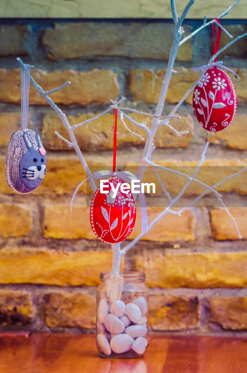 Close-up of easter decoration hanging outdoors