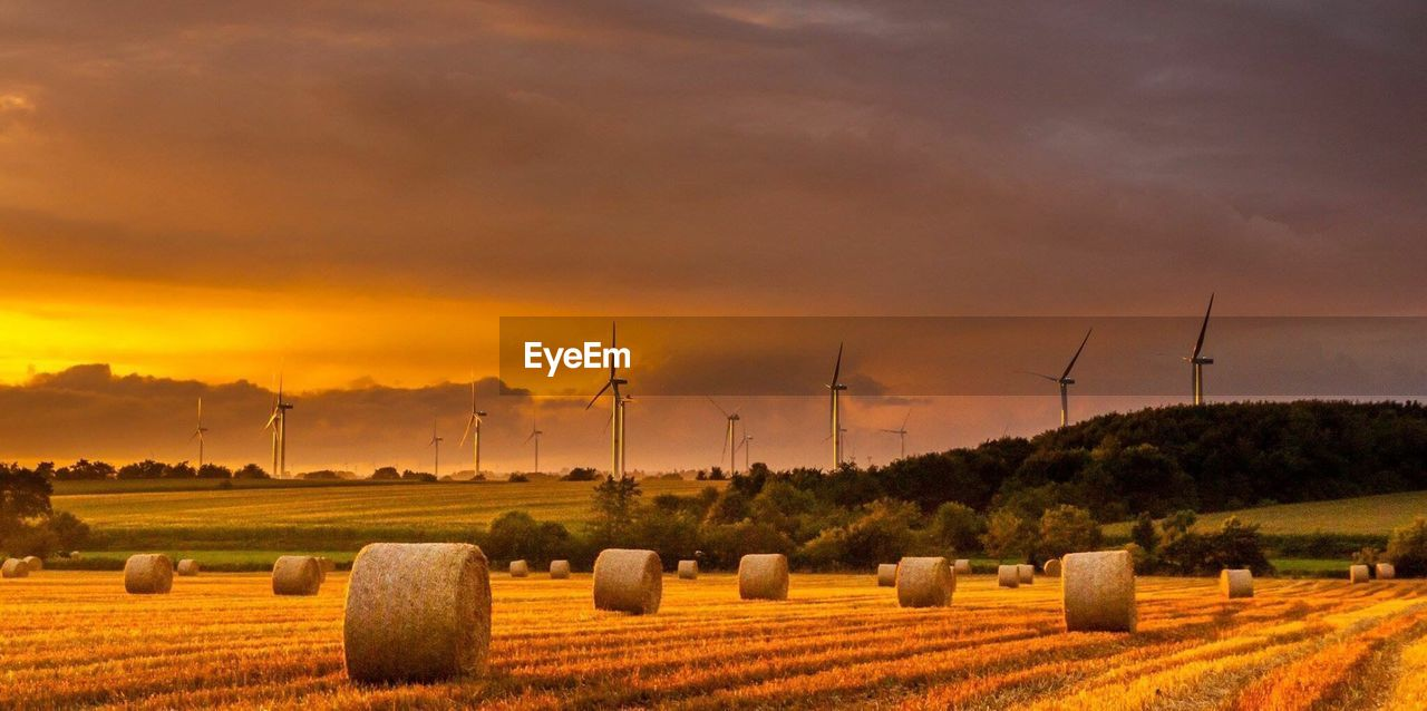 environment, sky, landscape, field, agriculture, rural scene, sunset, cloud - sky, beauty in nature, bale, land, farm, wind turbine, scenics - nature, nature, plant, turbine, tranquil scene, hay, renewable energy, no people, outdoors