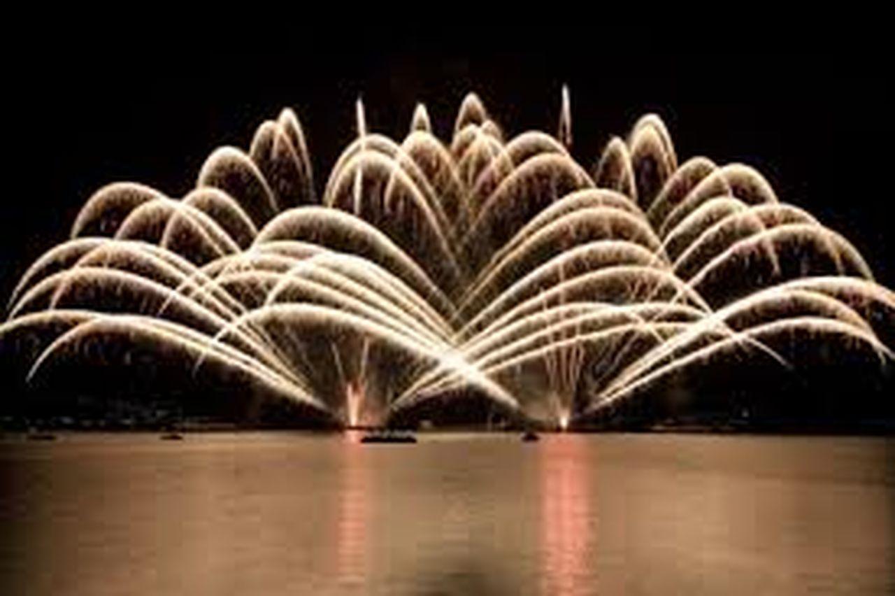 night, firework display, firework - man made object, long exposure, illuminated, motion, no people, water, black background, sky