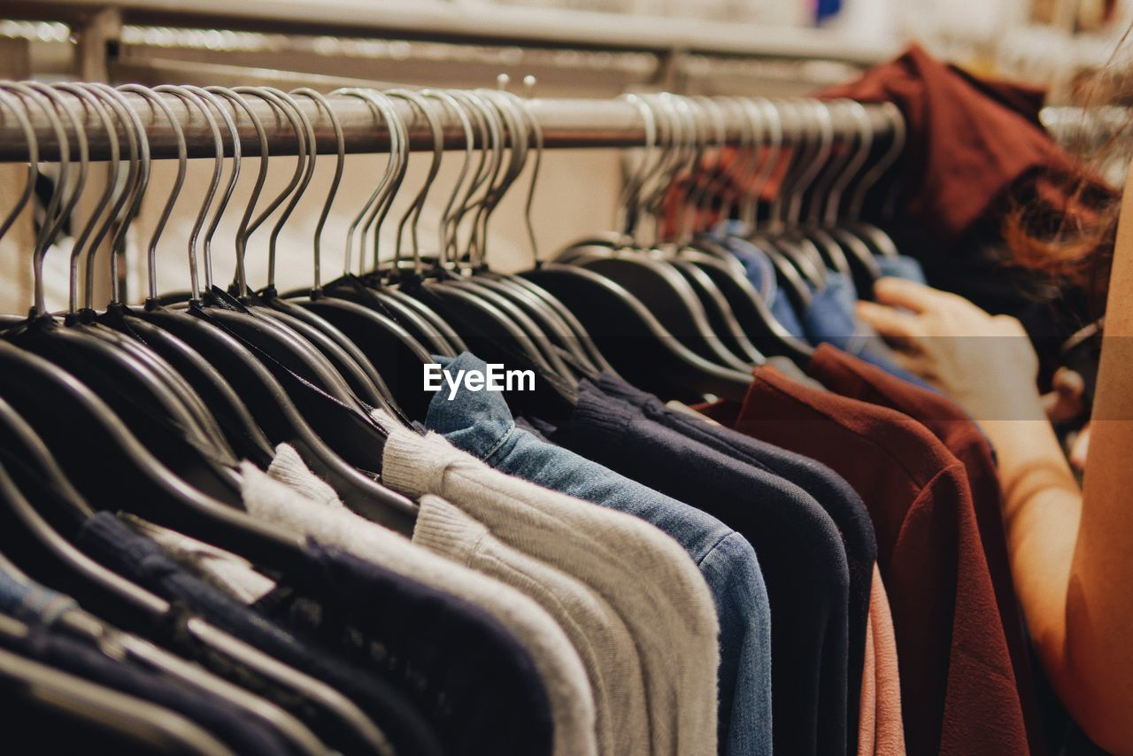 Low section of clothes on display at store