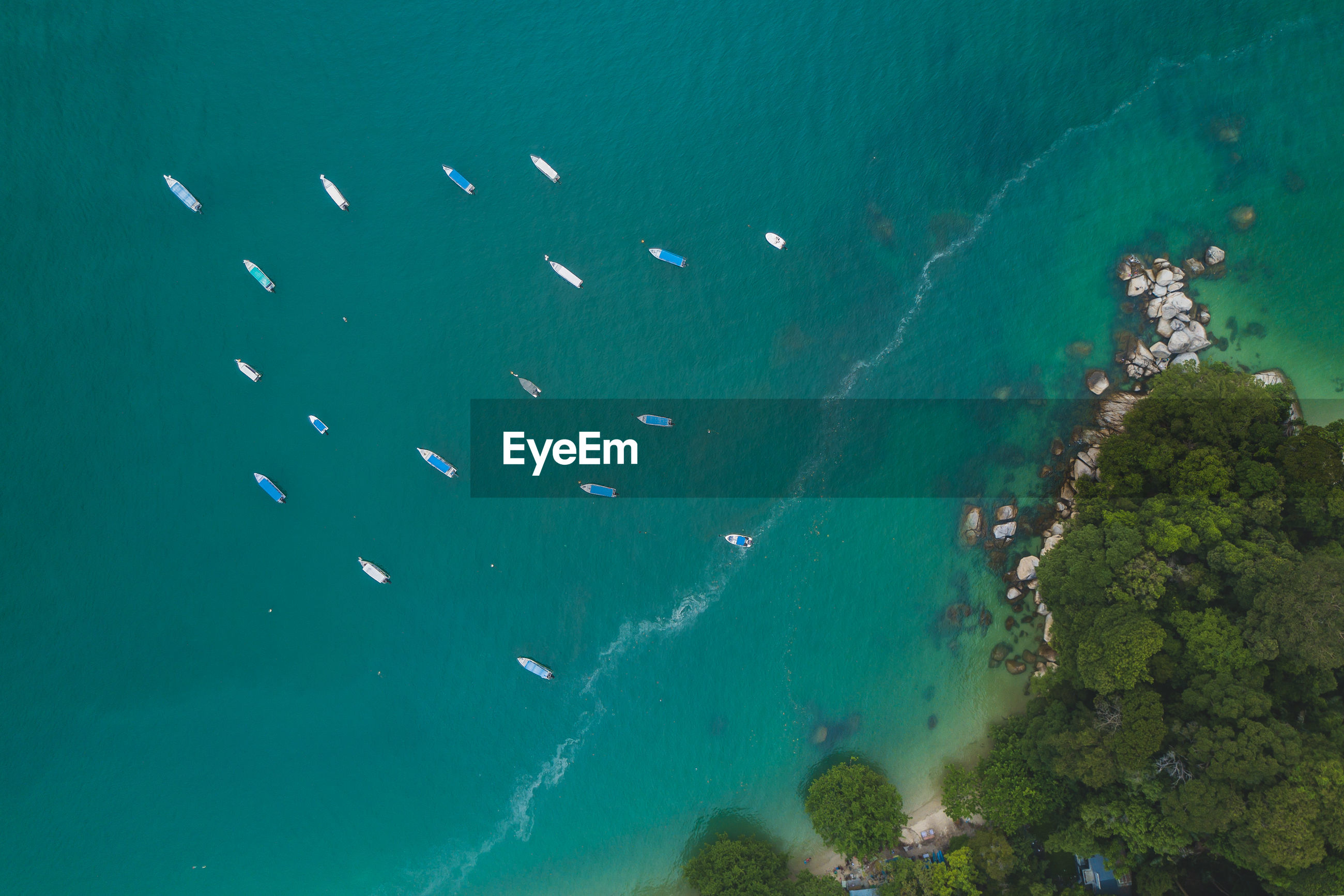 Aerial view of boats in sea