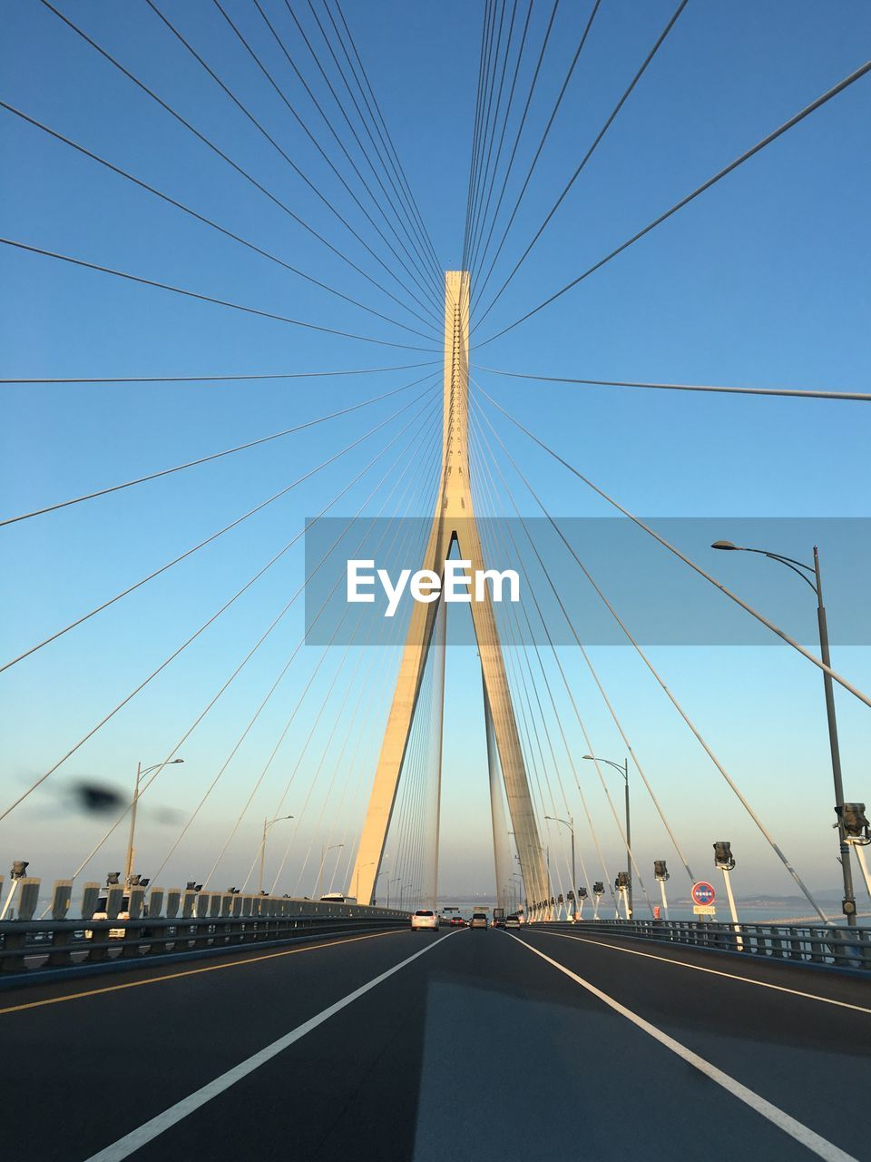 Incheon Bridge Against Clear Sky In City