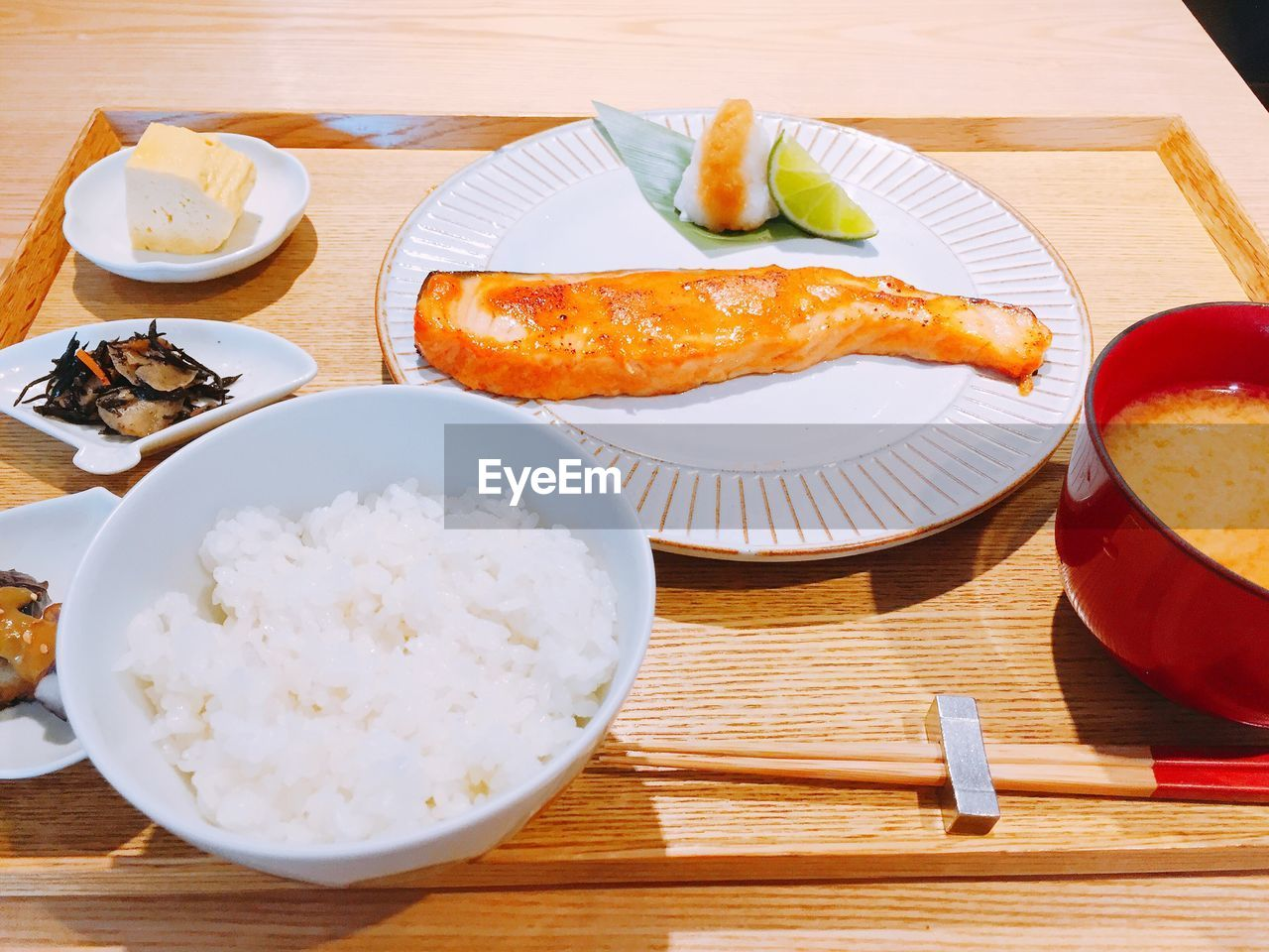 food and drink, food, table, plate, ready-to-eat, freshness, indoors, healthy eating, serving size, bowl, no people, rice - food staple, chopsticks, high angle view, close-up, day