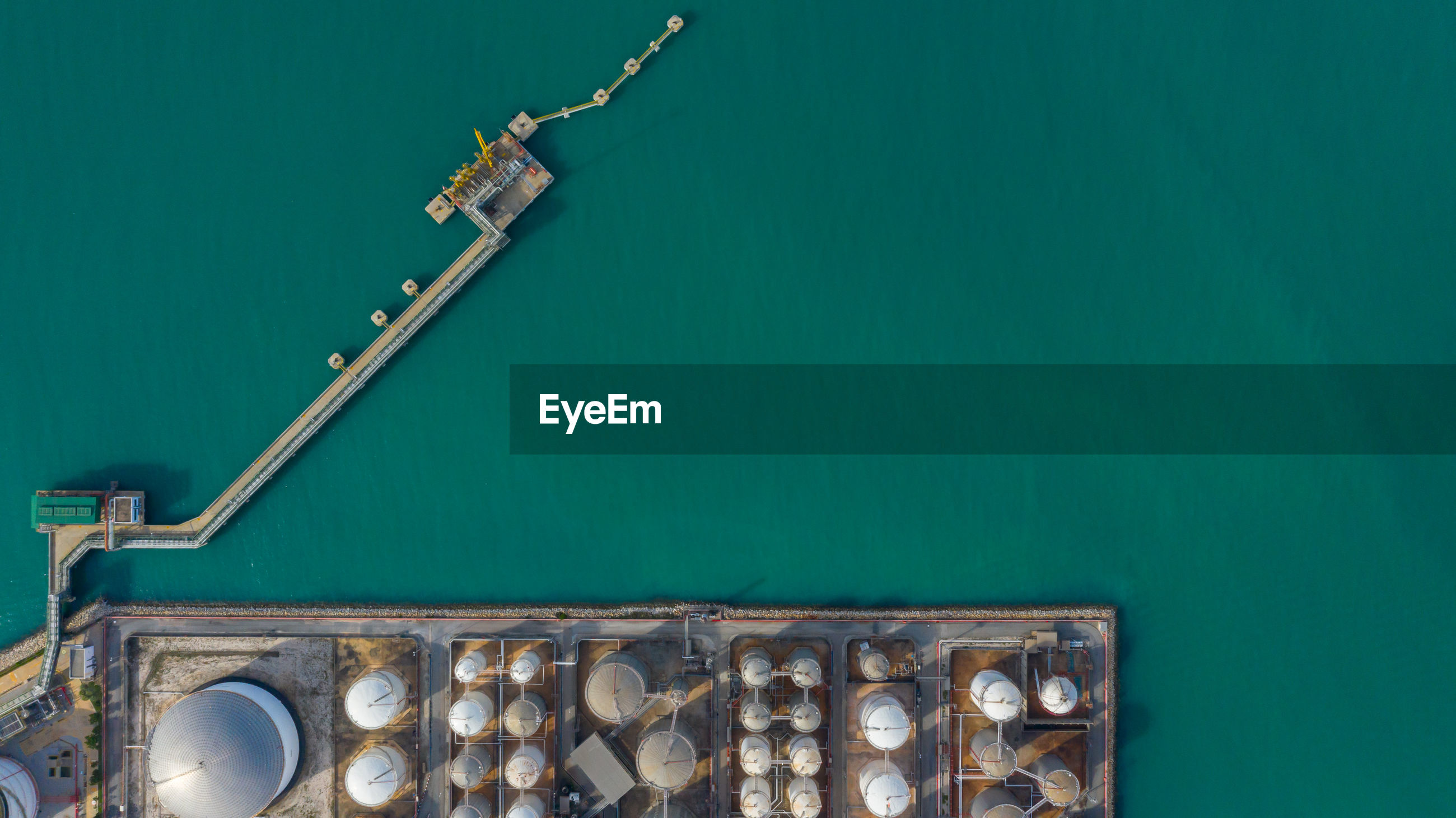 Aerial view of oil and gas industry by sea