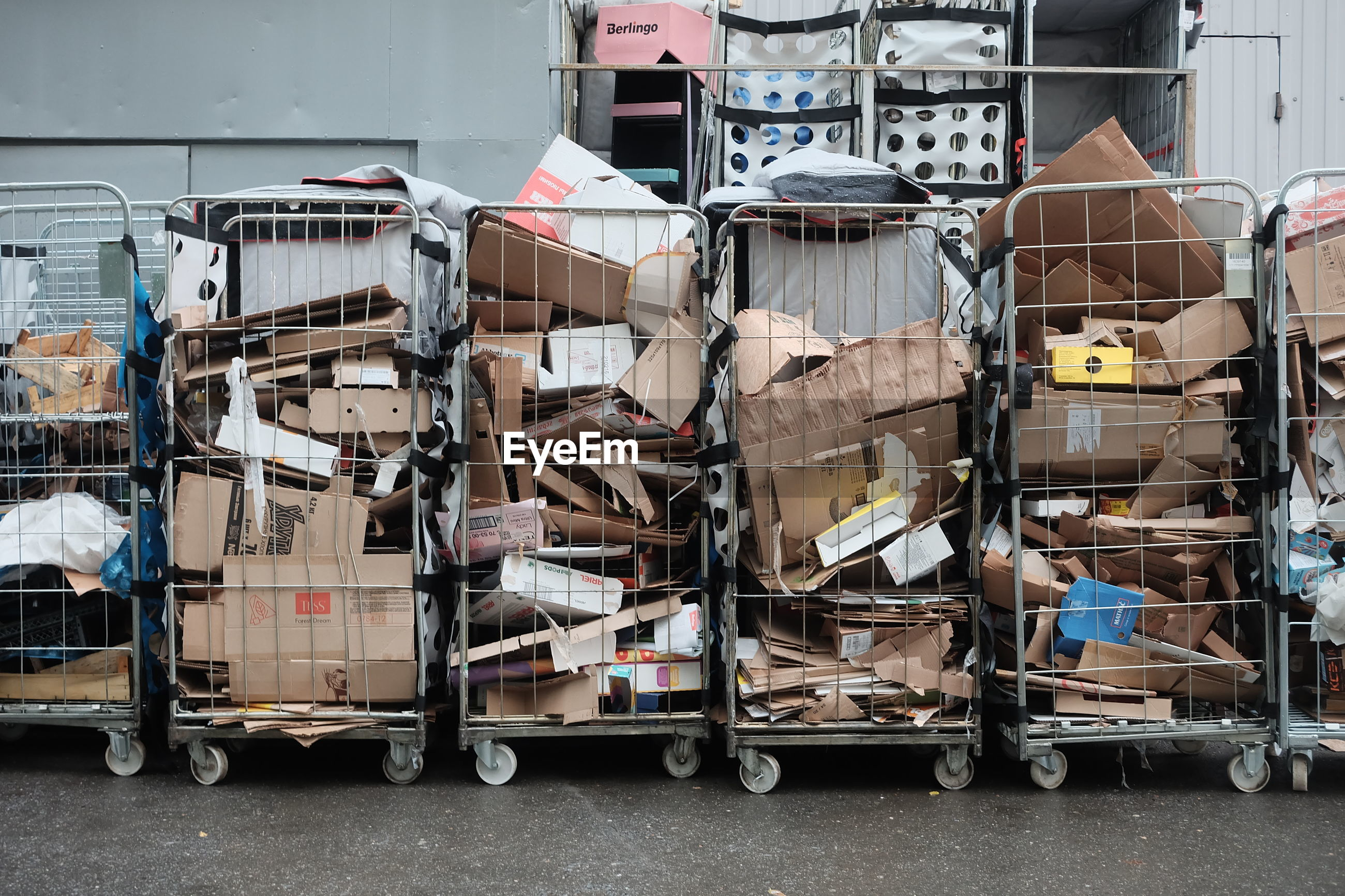 STACK OF SHOPPING CART IN ROW