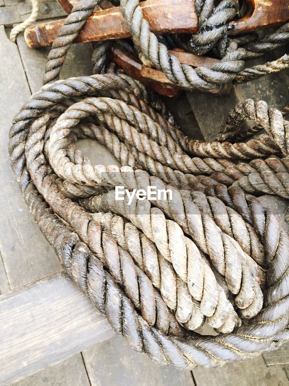 High angle view of rope in sailboat