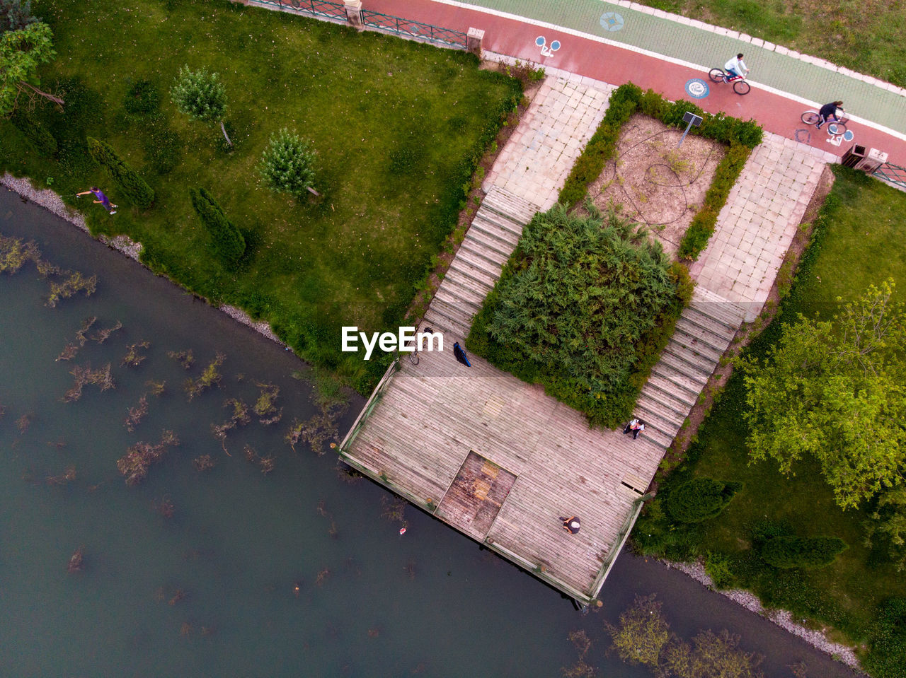 plant, high angle view, water, green color, day, nature, growth, no people, tranquility, grass, outdoors, beauty in nature, wood - material, lake, scenics - nature, architecture, land, tranquil scene, footpath, swimming pool