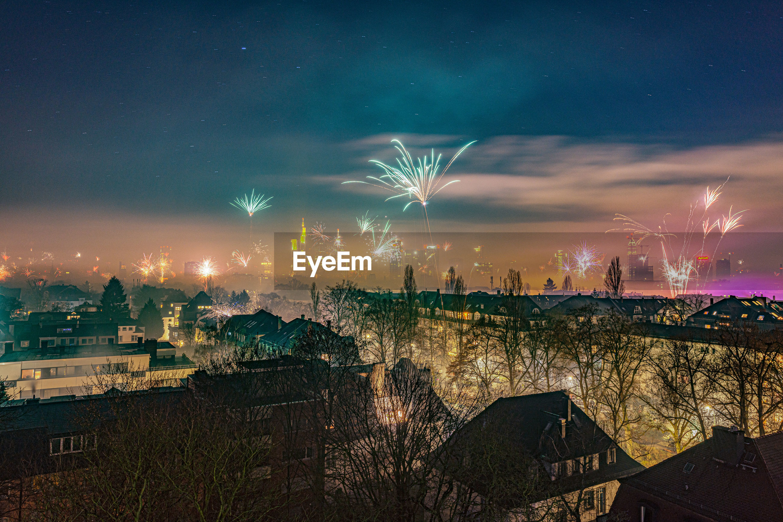 The frankfurt skyline with firework at new years eve