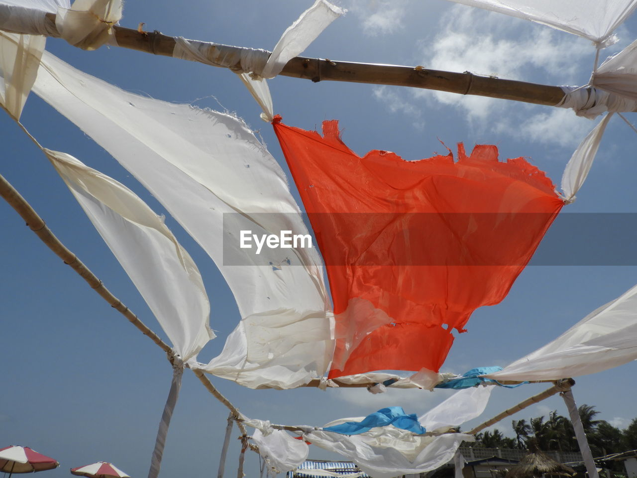 environment, wind, flag, day, nature, sky, textile, no people, drying, waving, white color, low angle view, hanging, laundry, outdoors, sunlight, pole, red, patriotism