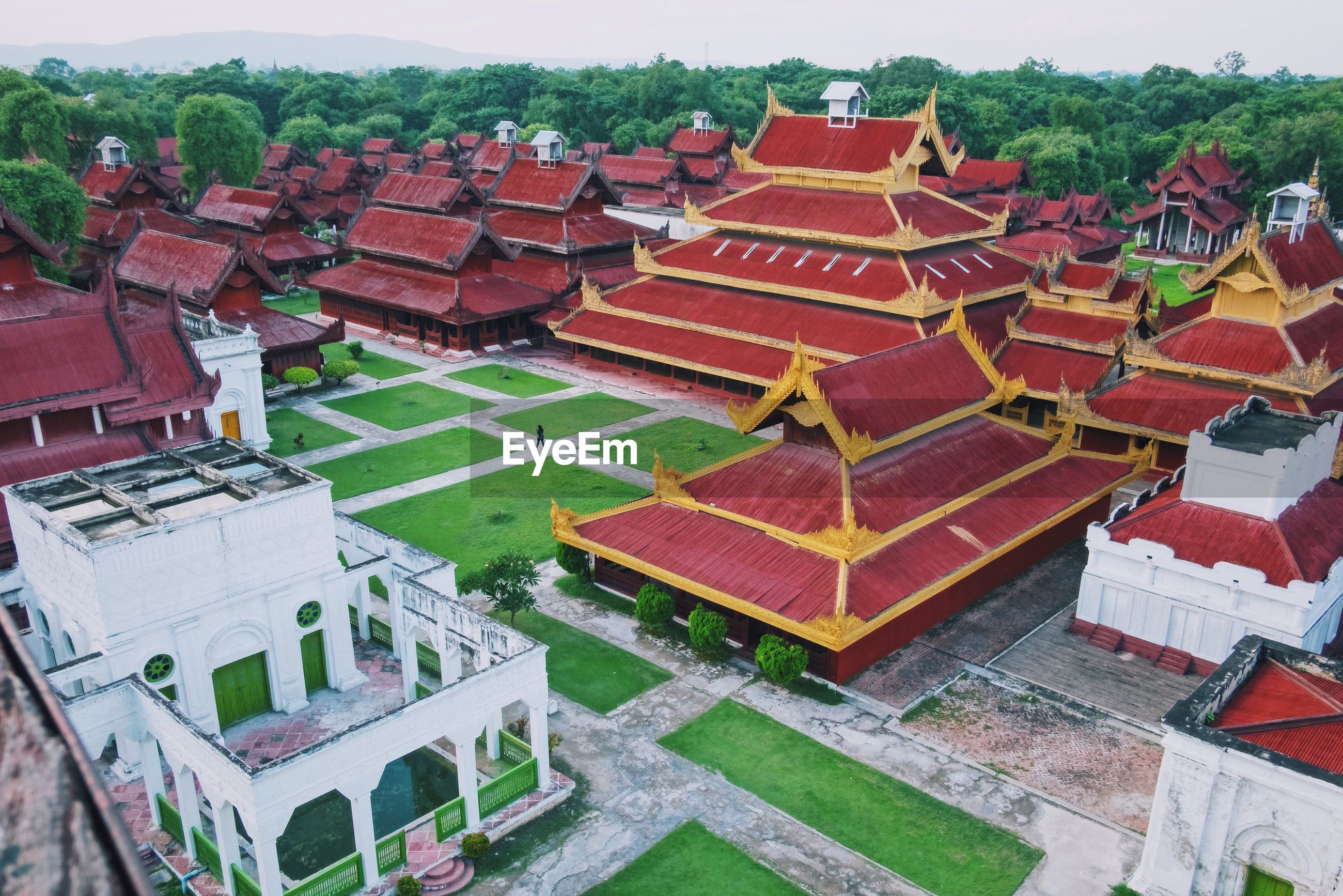 High angle view of temples