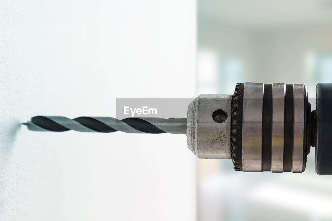 Close-up of drill machine