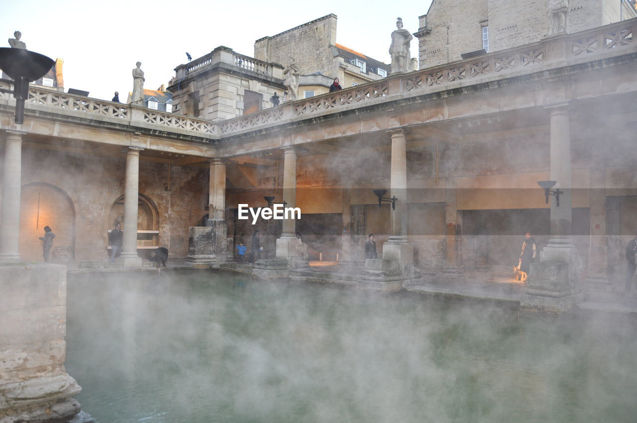 Hot Spring At Roman Baths In City