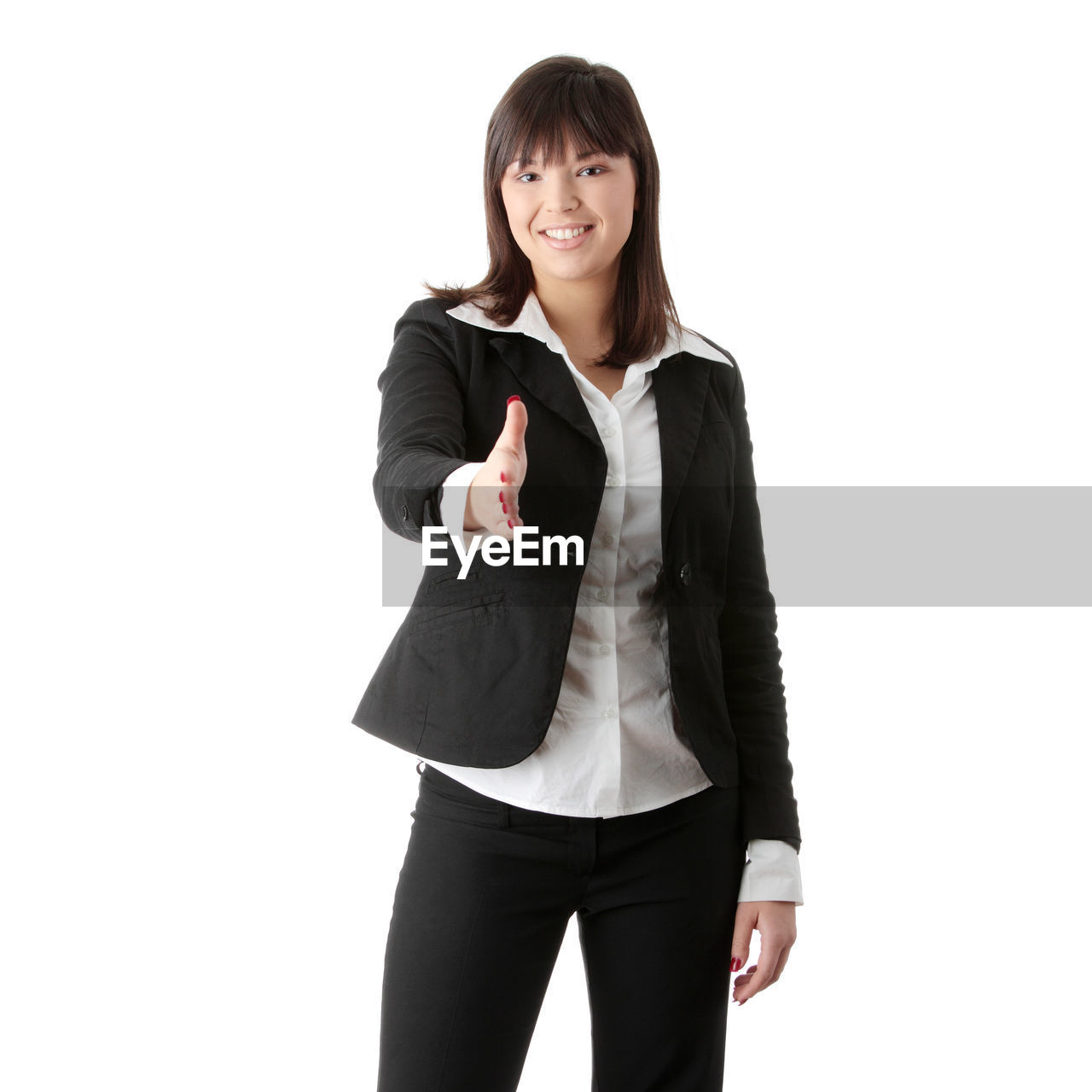 white background, standing, one person, studio shot, front view, looking at camera, smiling, three quarter length, portrait, young adult, businesswoman, young women, indoors, cut out, women, business person, happiness, confidence, business, hand, hairstyle, beautiful woman