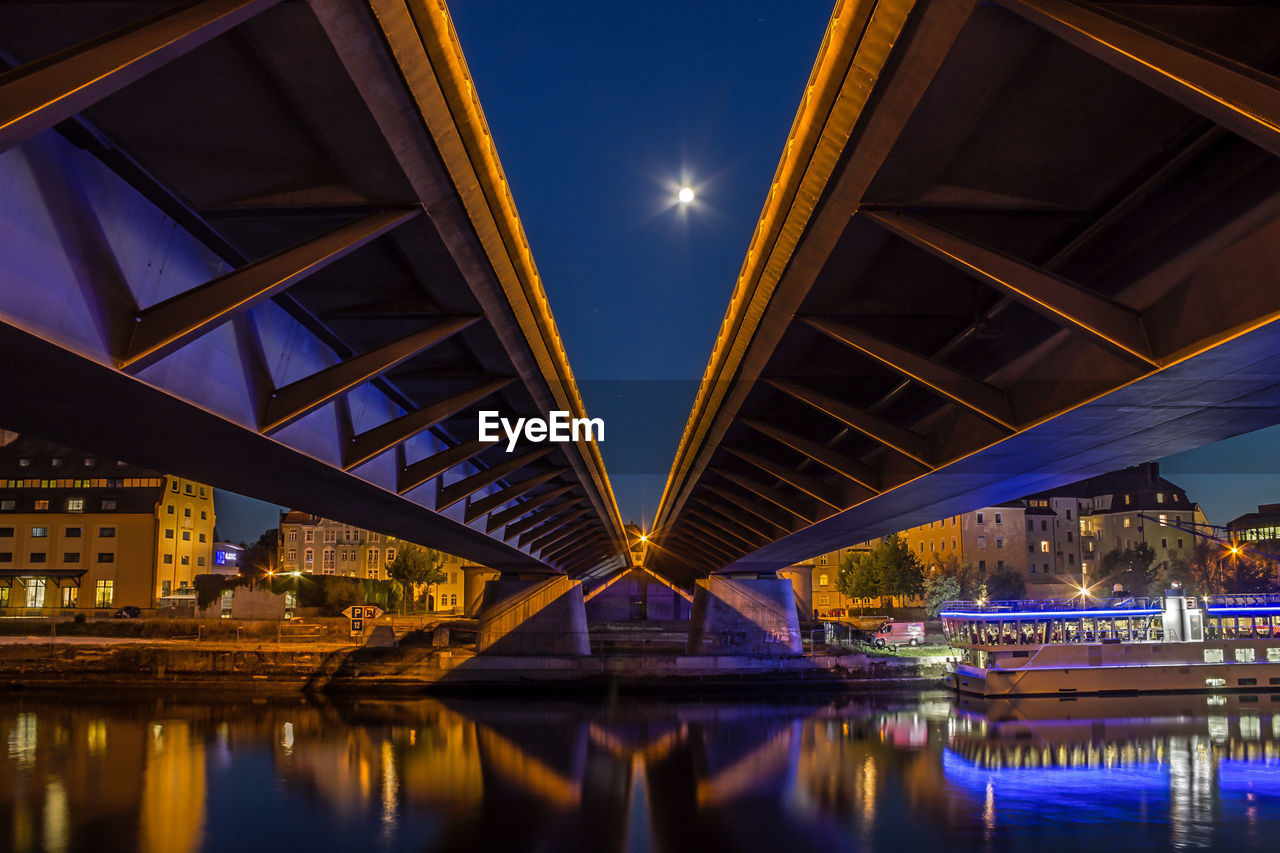 illuminated, night, bridge - man made structure, connection, engineering, architecture, built structure, reflection, water, outdoors, no people, city, sky
