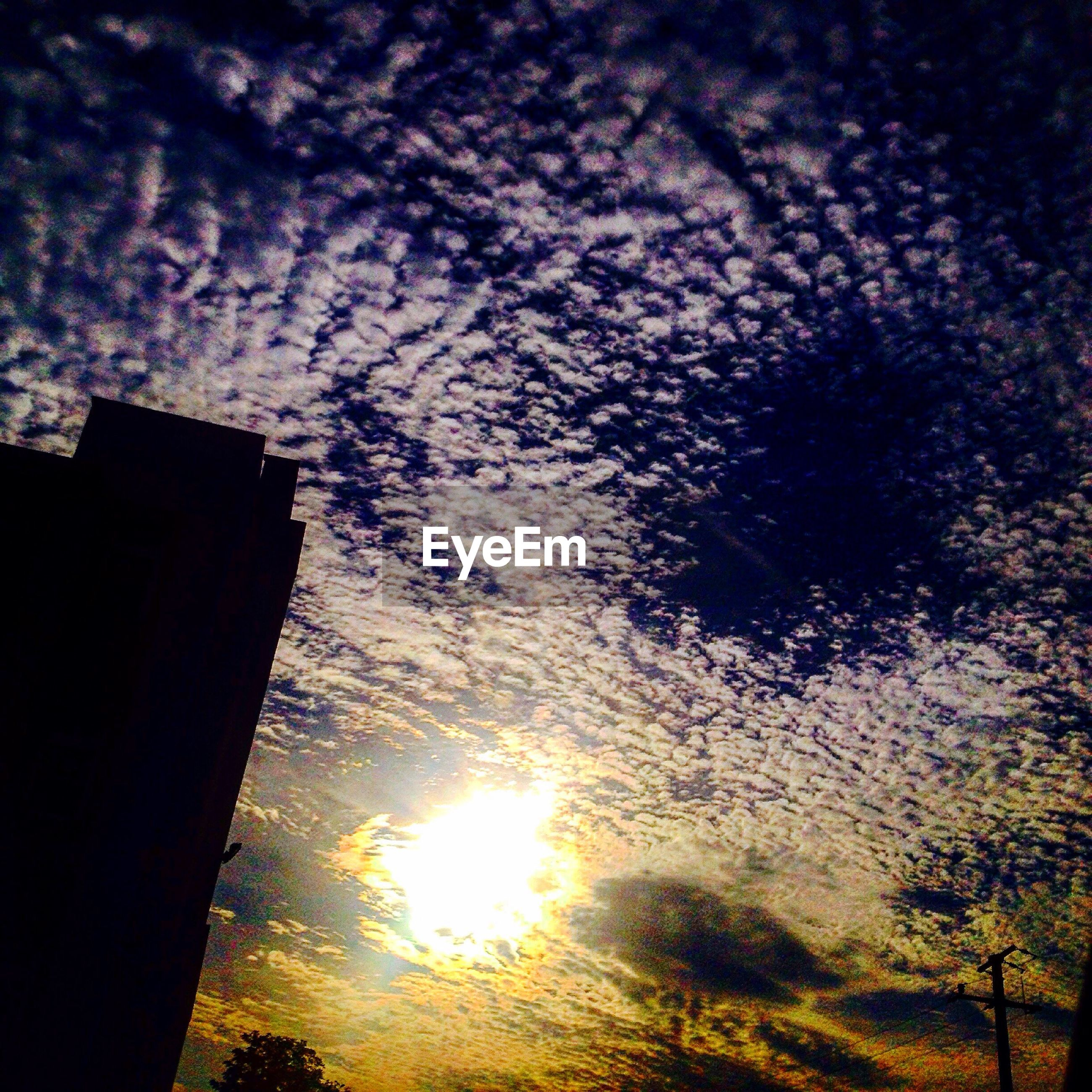 sun, low angle view, sunset, silhouette, sky, sunlight, architecture, sunbeam, cloud, branch, building exterior, outdoors, nature, cloud - sky, scenics, tranquility, beauty in nature, tranquil scene, high section, lens flare, no people, cloudy