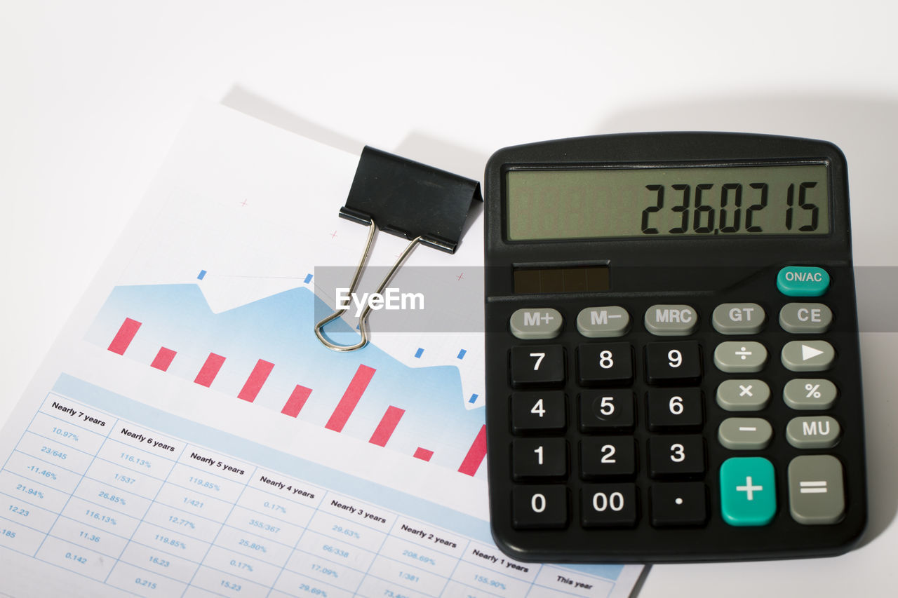 number, communication, text, calculator, technology, indoors, finance, no people, still life, white background, business, close-up, western script, document, paper, financial figures, letter, table, studio shot, high angle view