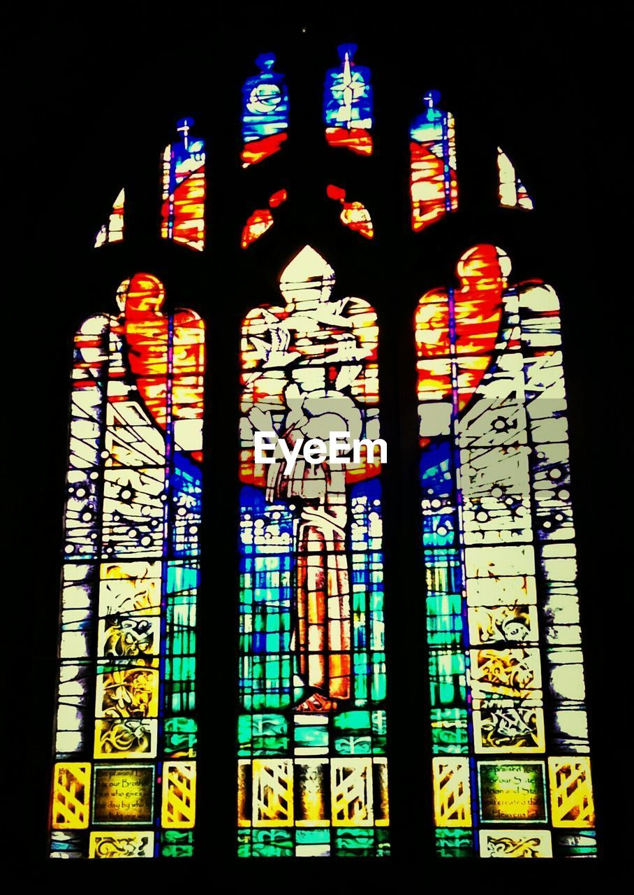 stained glass, multi colored, religion, place of worship, spirituality, no people, window, night, illuminated, black background, indoors, architecture, close-up