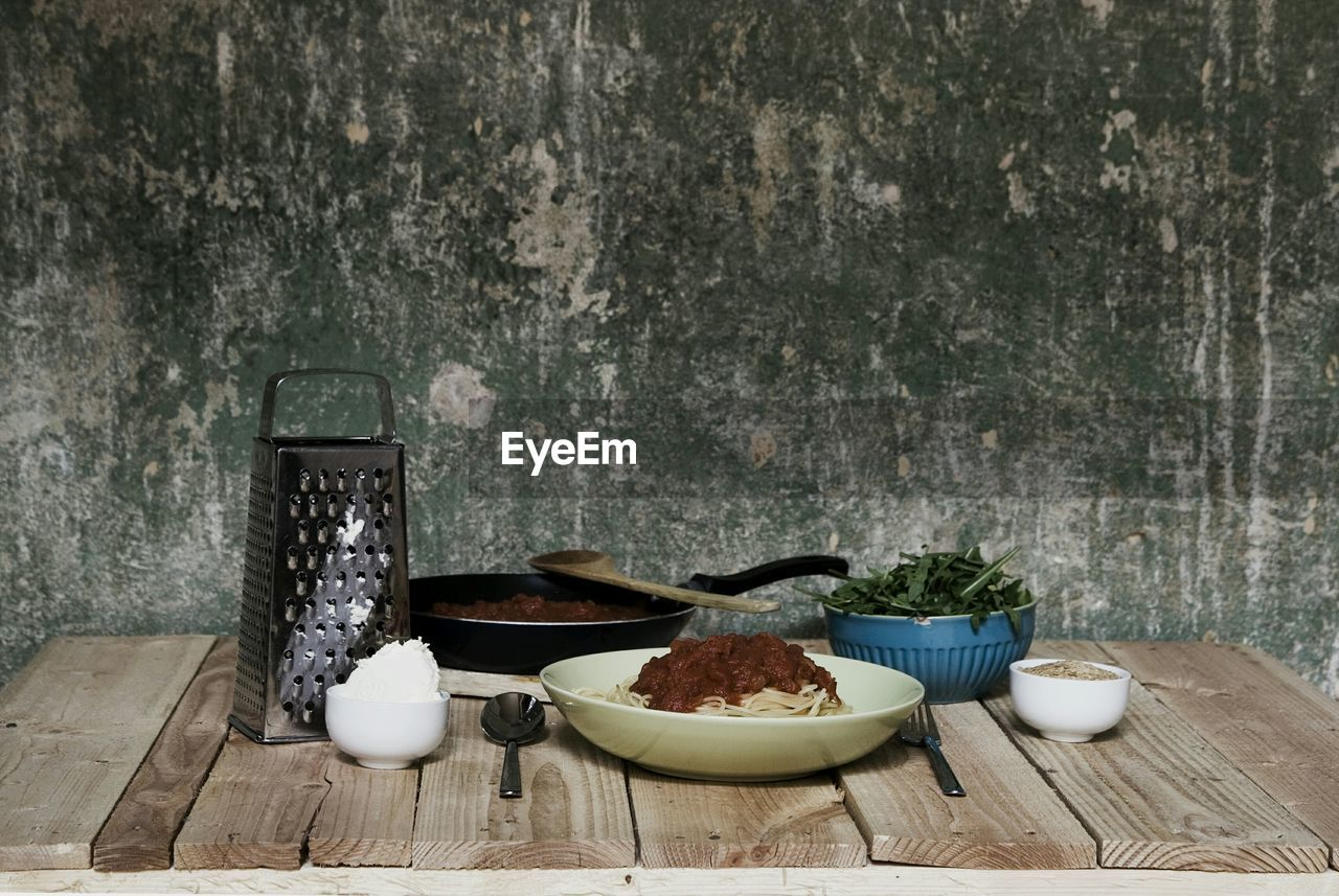 Food On Table Against Wall In Kitchen