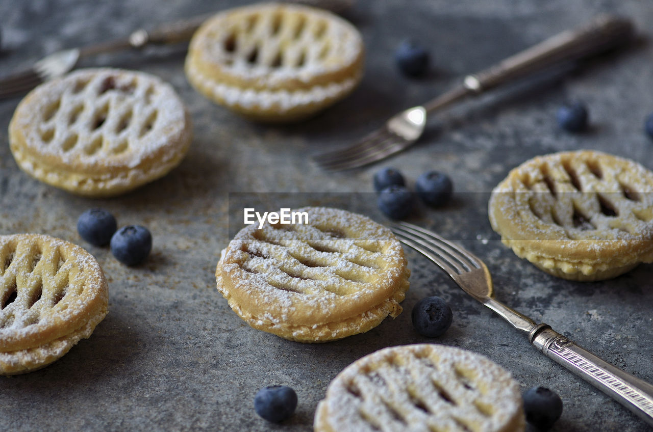Close-Up Of Minature Blueberry Tarts