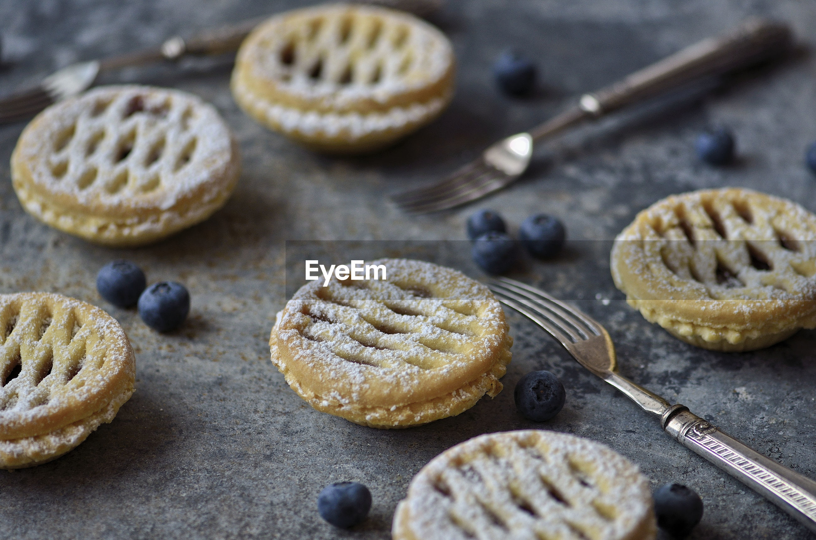 Close-up of minature blueberry tarts