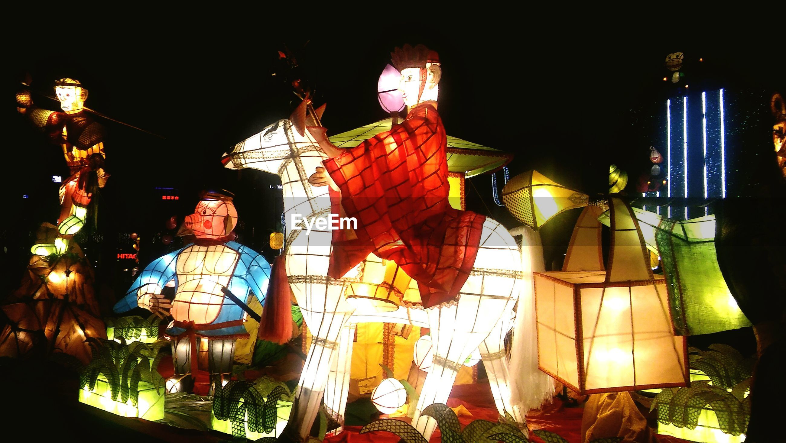 Illuminated lantern decorations in dark