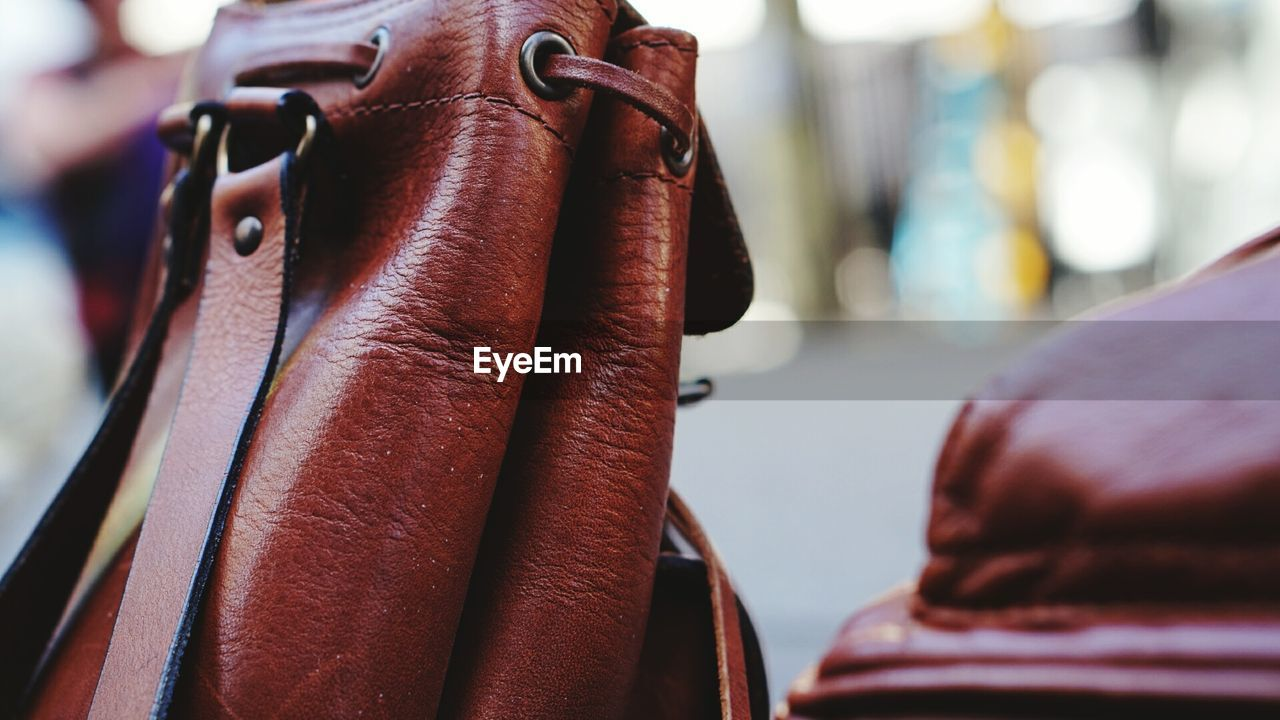 Close-up of leather bag