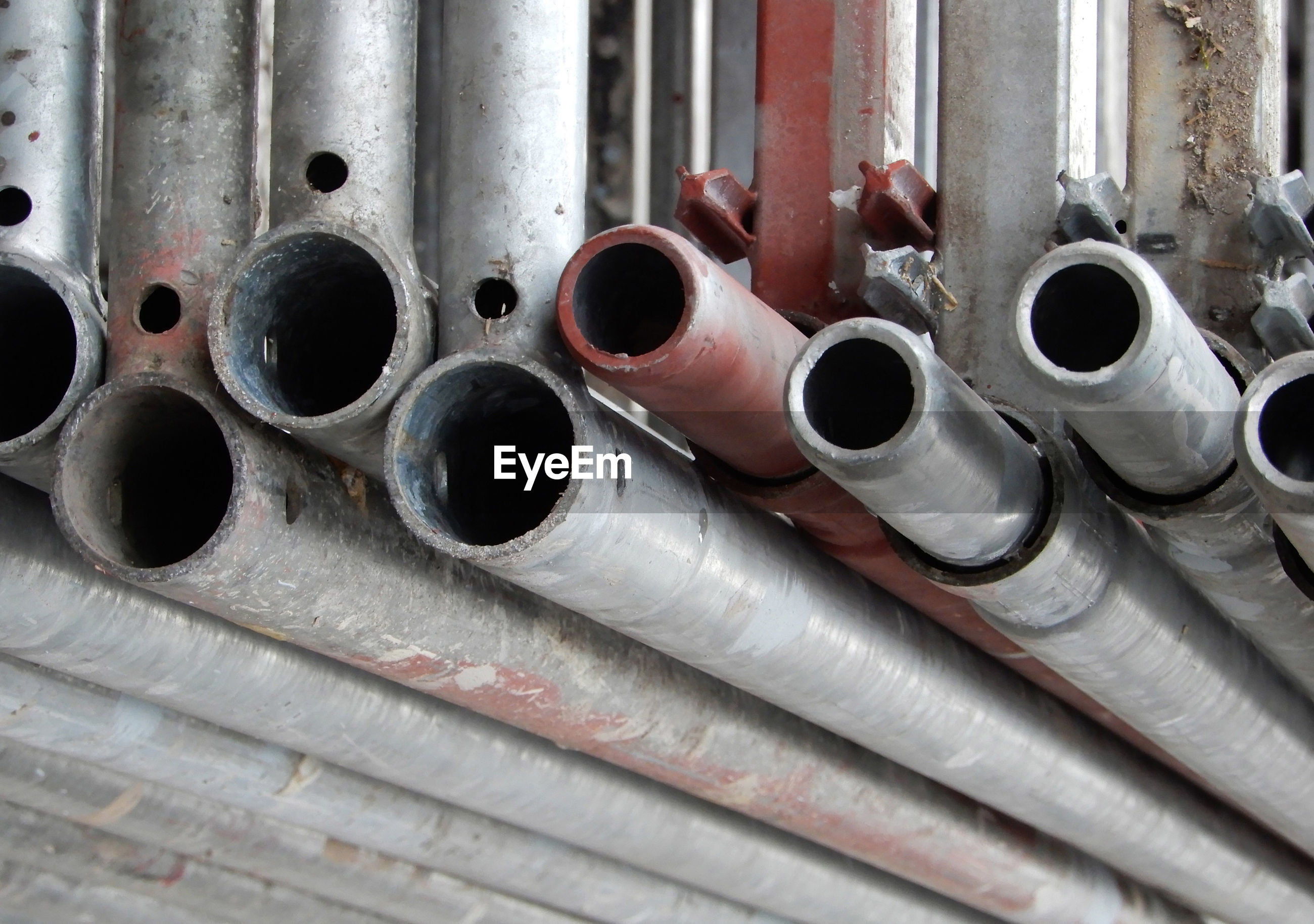 Close-up of pipes in factory