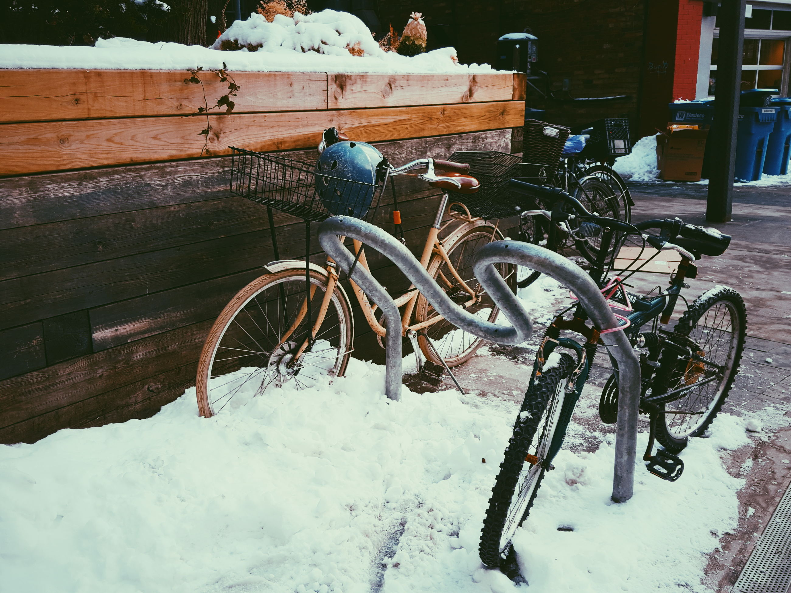 Bicycle parked on snow