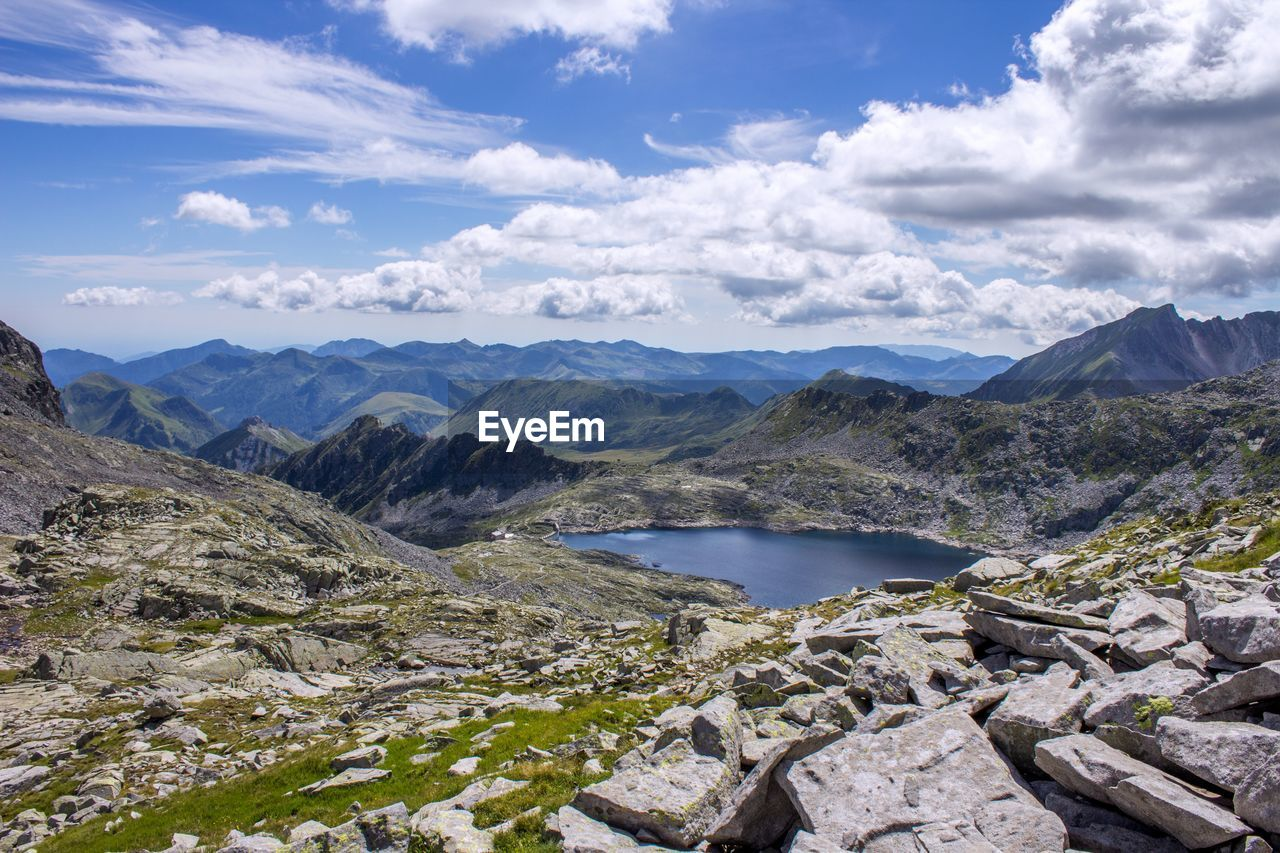 Scenic View Of Lake At Rocky Mountains Against Sky
