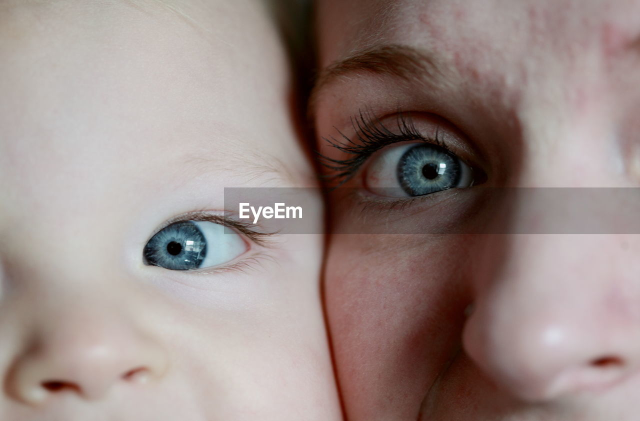 Extreme close-up portrait of mother and son