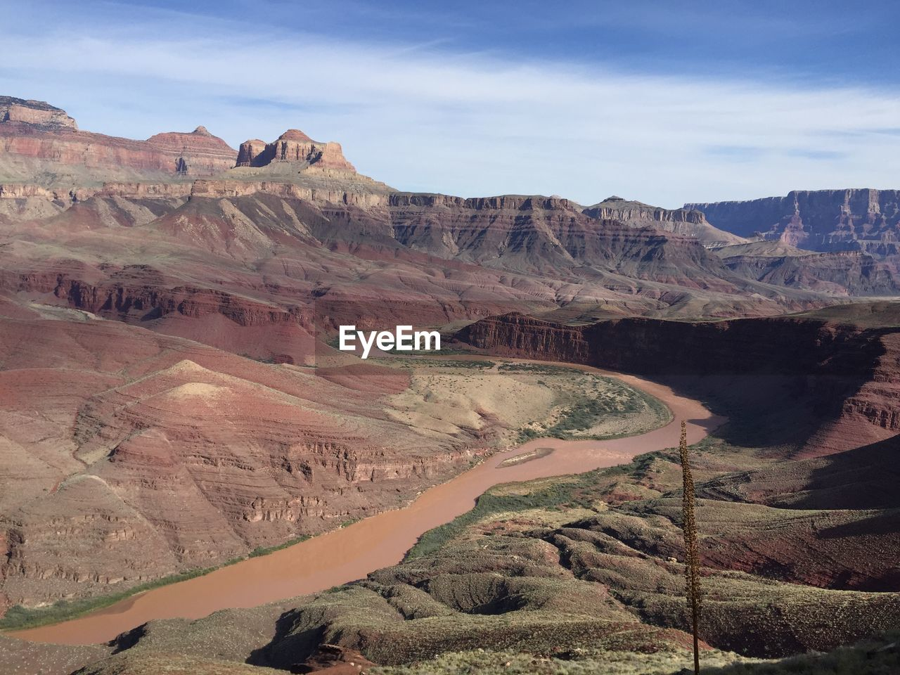 High Angle View Of River And Rocky Mountains At Grand Canyon National Park