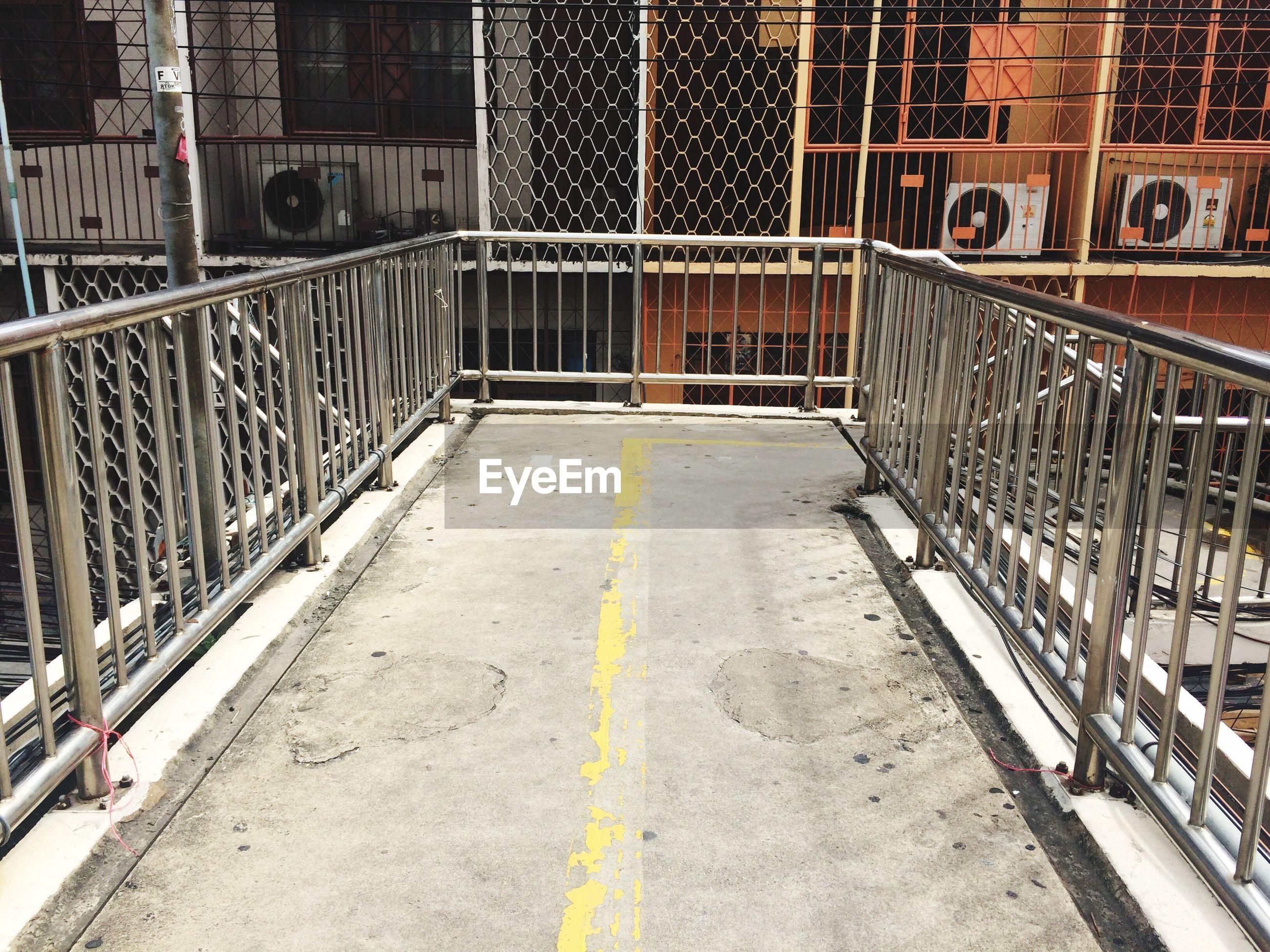 Footbridge against building