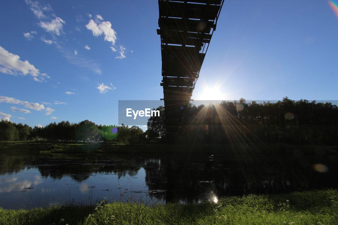 Bridge over calm lake against blue sky