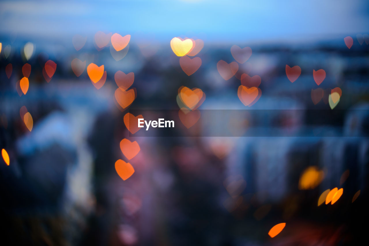 Close-up of illuminated heart shape lights