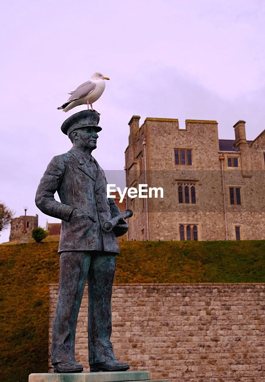 LOW ANGLE VIEW OF BIRD PERCHING ON STATUE