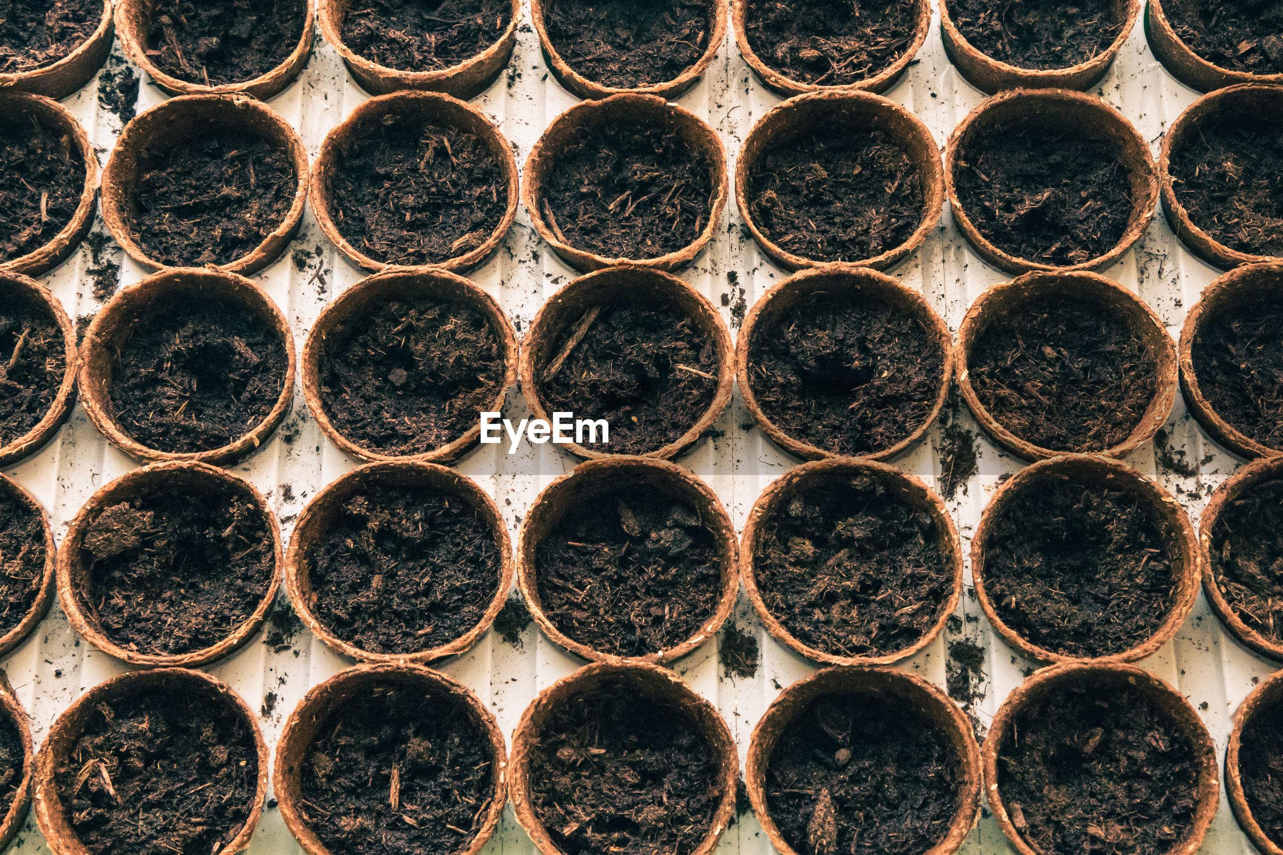 Full frame shot of flower pots