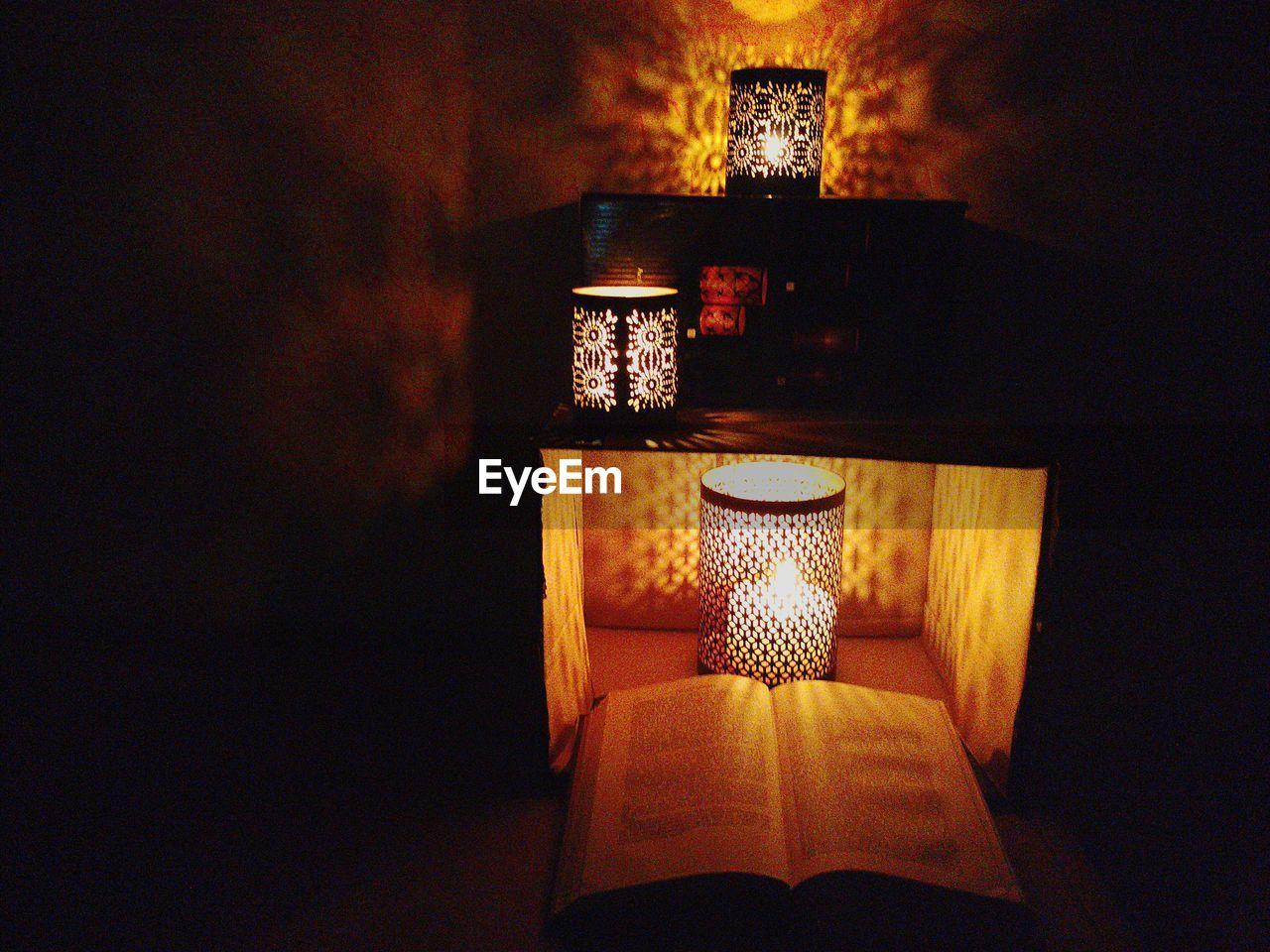 illuminated, lighting equipment, indoors, no people, electricity, close-up, lamp shade, lantern, night