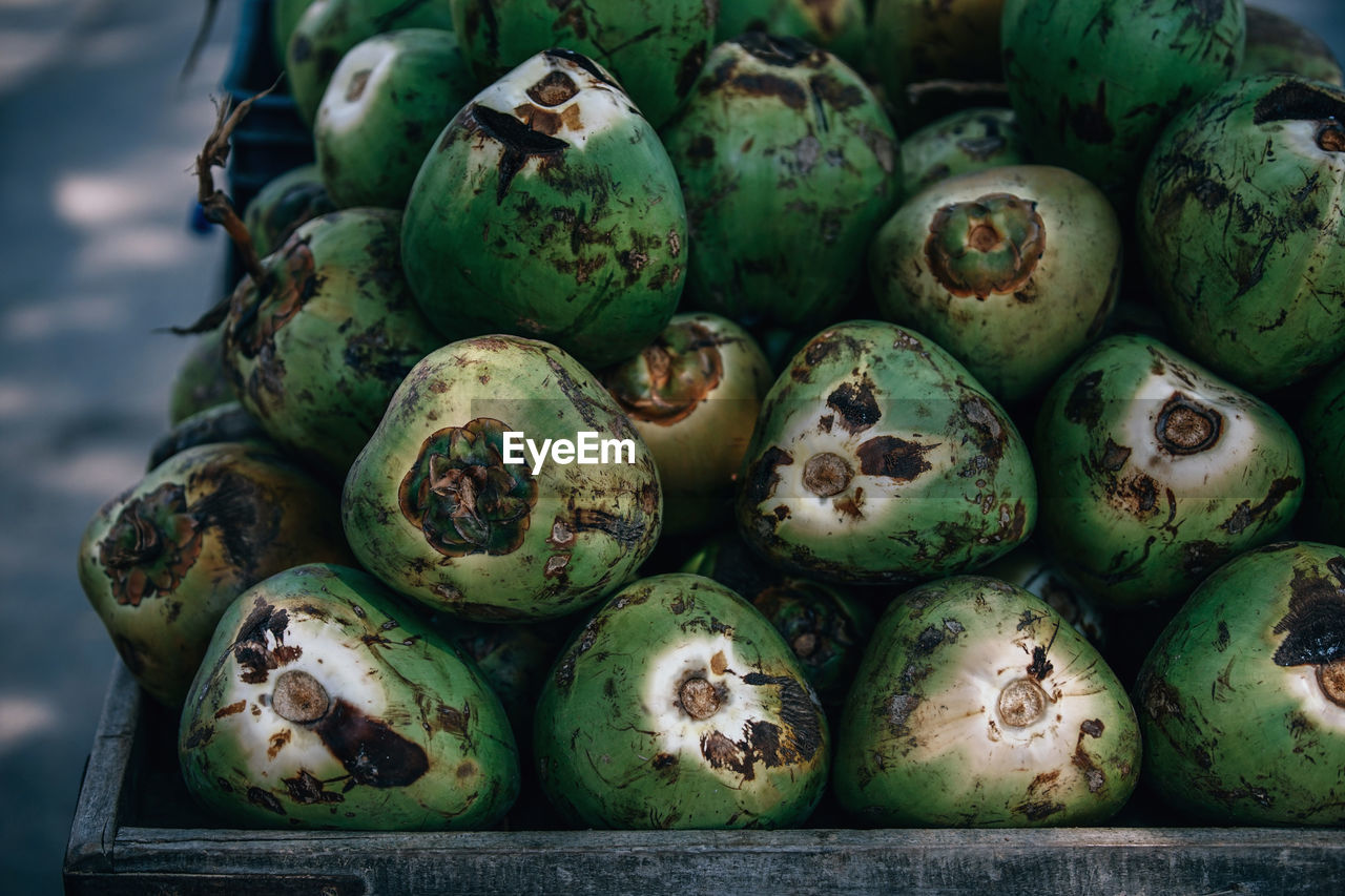 High Angle View Of Coconuts For Sale